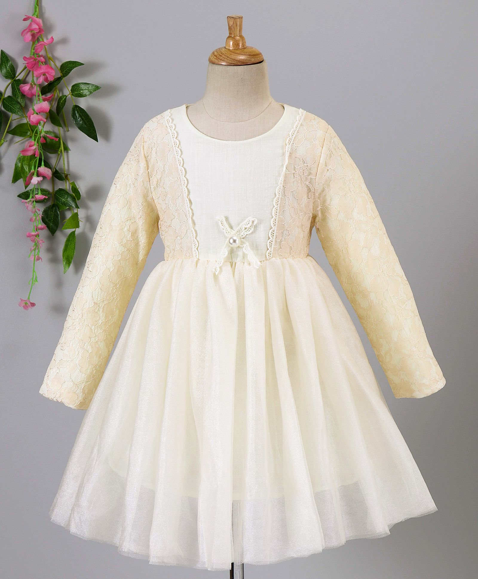 05605f8958c39 Buy Fen Cai Flower Design Full Sleeves Net Dress Cream for Girls (0-6  Months) Online in India, Shop at FirstCry.com - 2344290