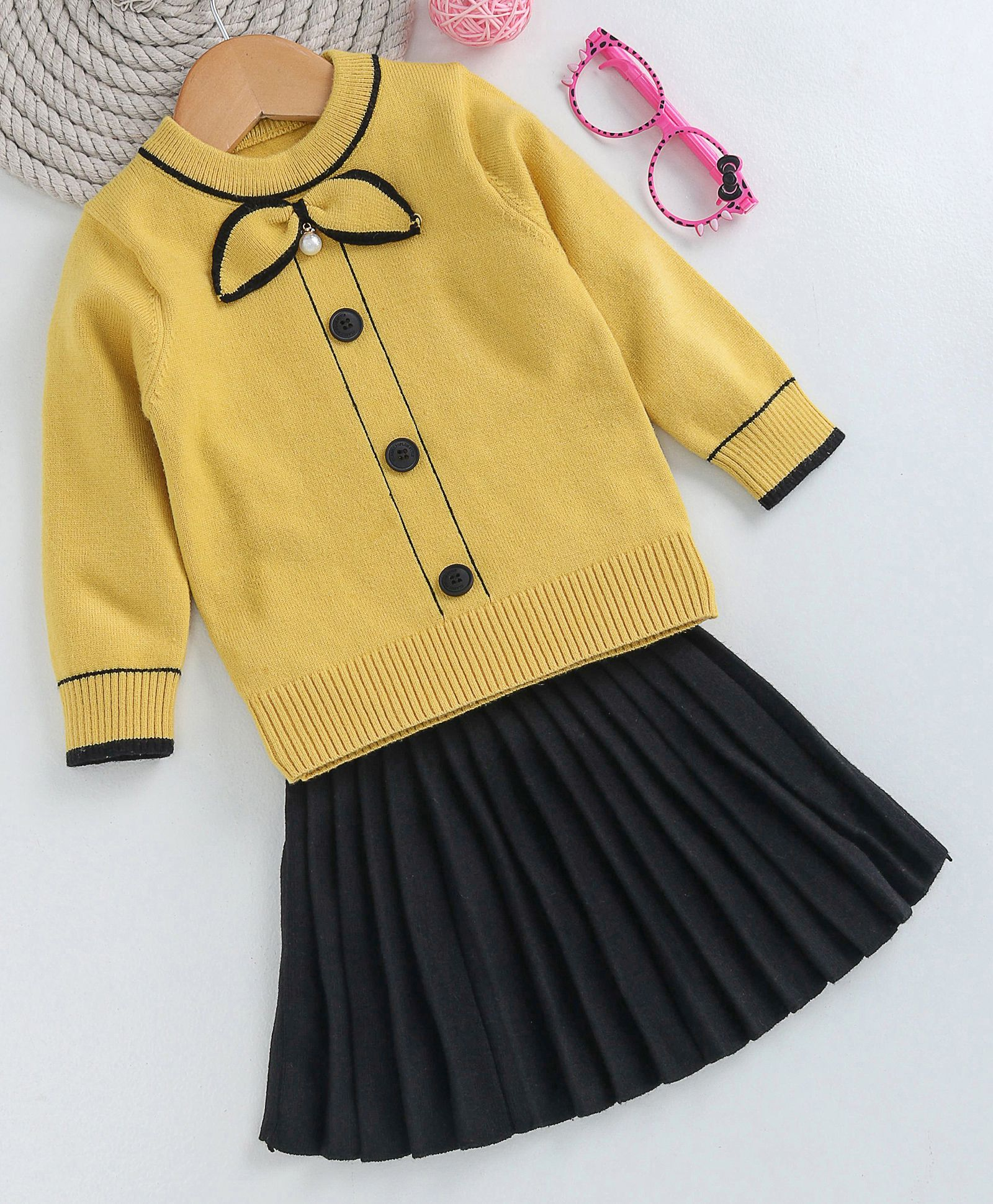 0af777ba9a1a Buy Kookie Kids Full Sleeves Top With Pleated Skirt Yellow & Black ...