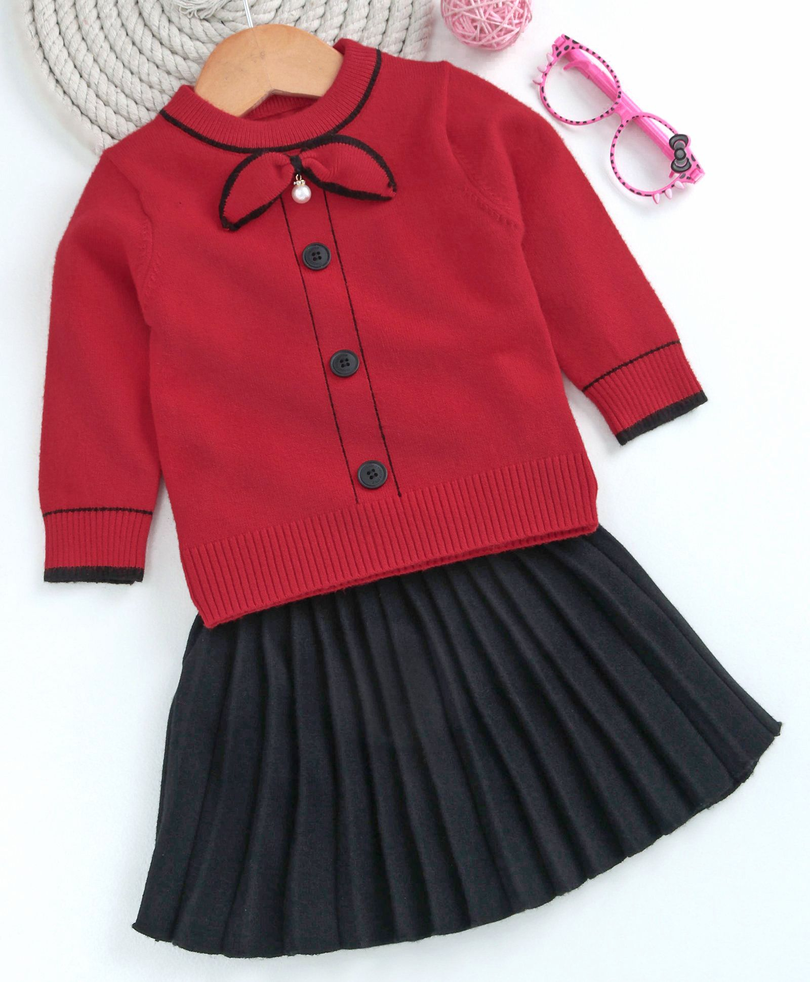 fa574857d47e Buy Kookie Kids Full Sleeves Top With Pleated Skirt Red & Black for ...
