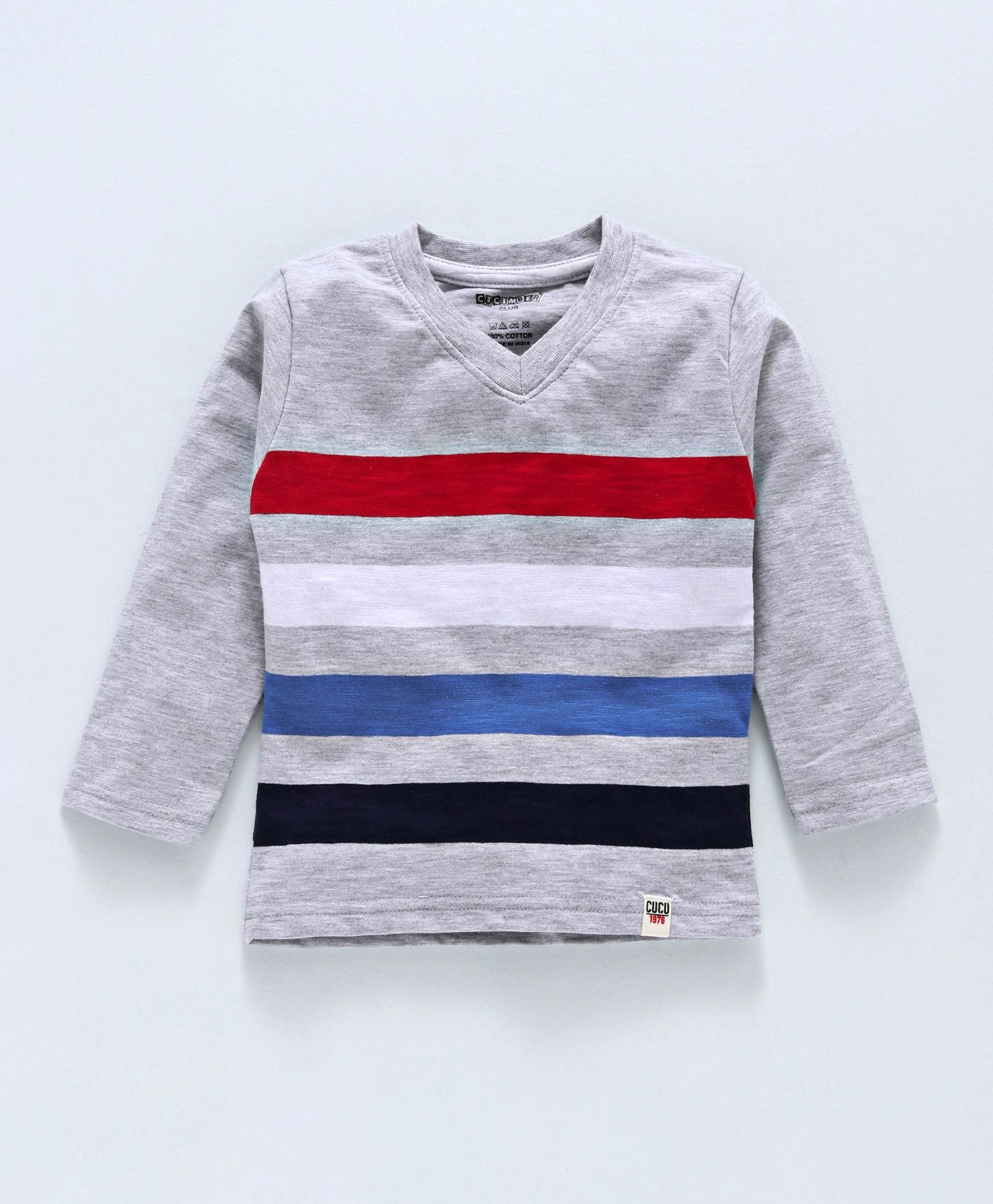 564d6fec8b Buy Cucumber Full Sleeves Striped TShirt Grey Red White for Boys ...