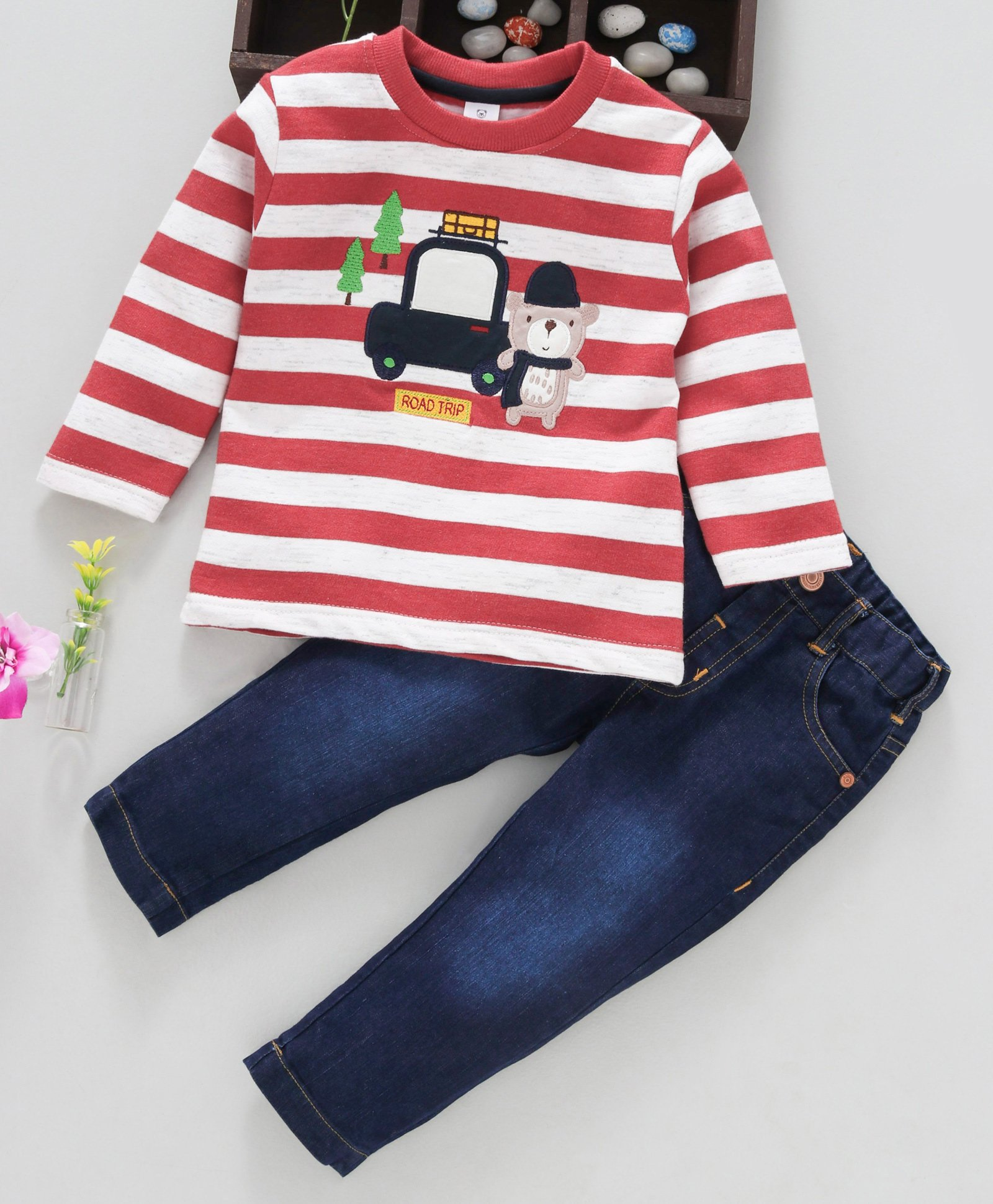 Buy ToffyHouse Full Sleeves Striped TShirt & Jeans Road Trip Patch Red &  Blue for Boys (12-18 Months) Online in India, Shop at FirstCry com - 2348363