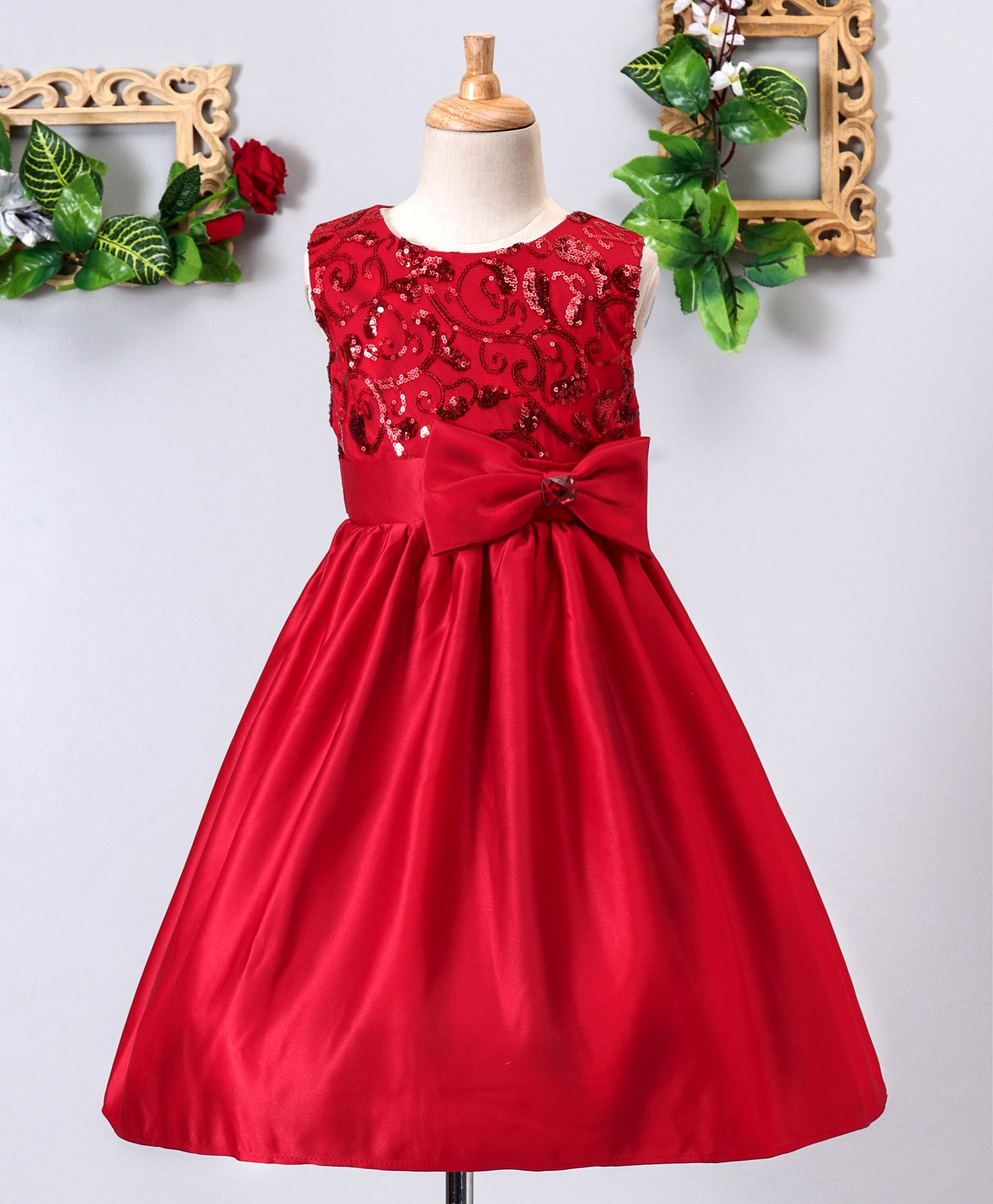 dc4f0df588 Buy Mark & Mia Sequined Bow Applique Sleeveless Dress Red for Girls (3-4  Years) Online in India, Shop at FirstCry.com - 2350433
