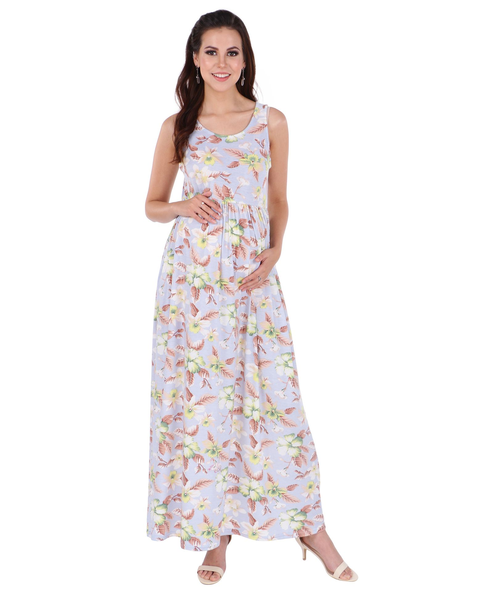 8e39ac135f730 MomToBe Sleeveless Maternity Dress Flower & Leaf Print Blue Online in  India, Buy at Best Price from Firstcry.com - 2358955