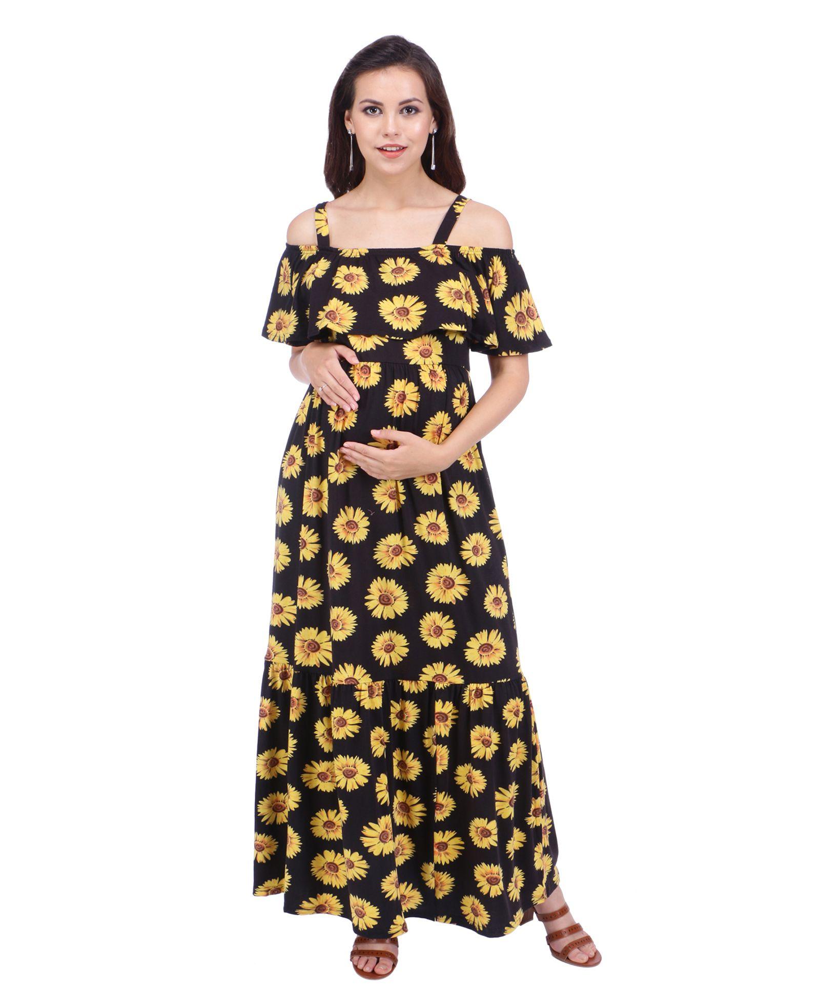 e6ff20966d1f8 MomToBe Cold Shoulder Maternity Dress Sunflower Print Black ...