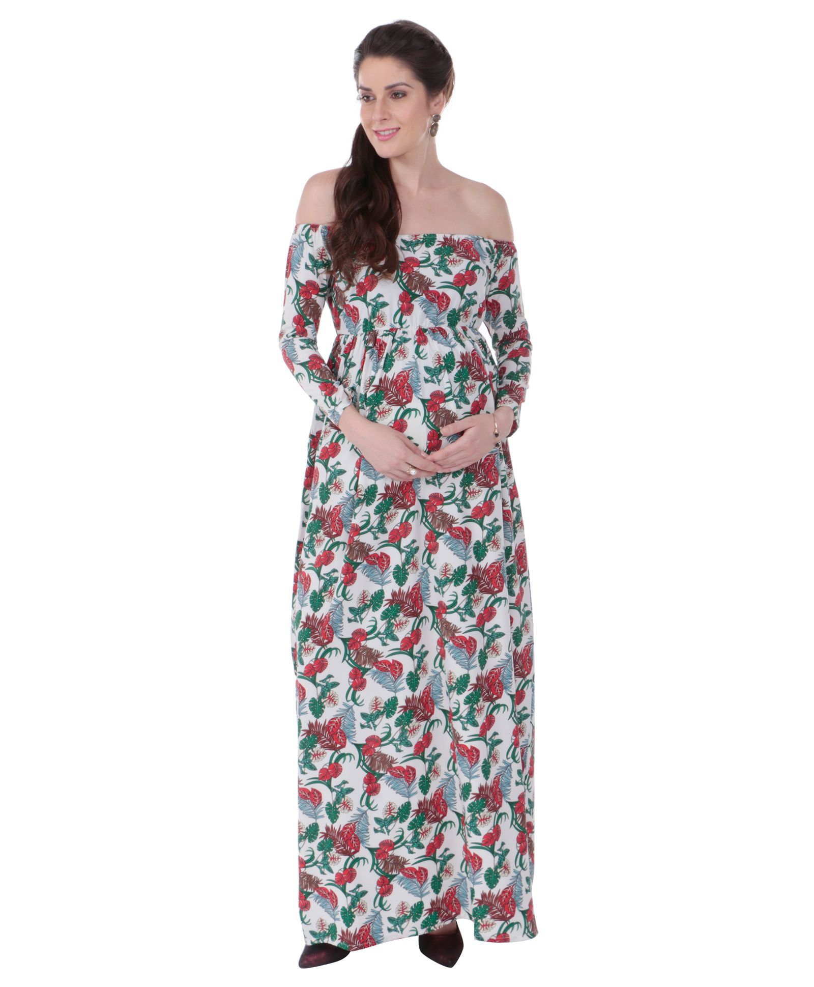 a83fd2ee078 MomToBe Off Shoulder Floral Printed Maternity Dress White Online in ...