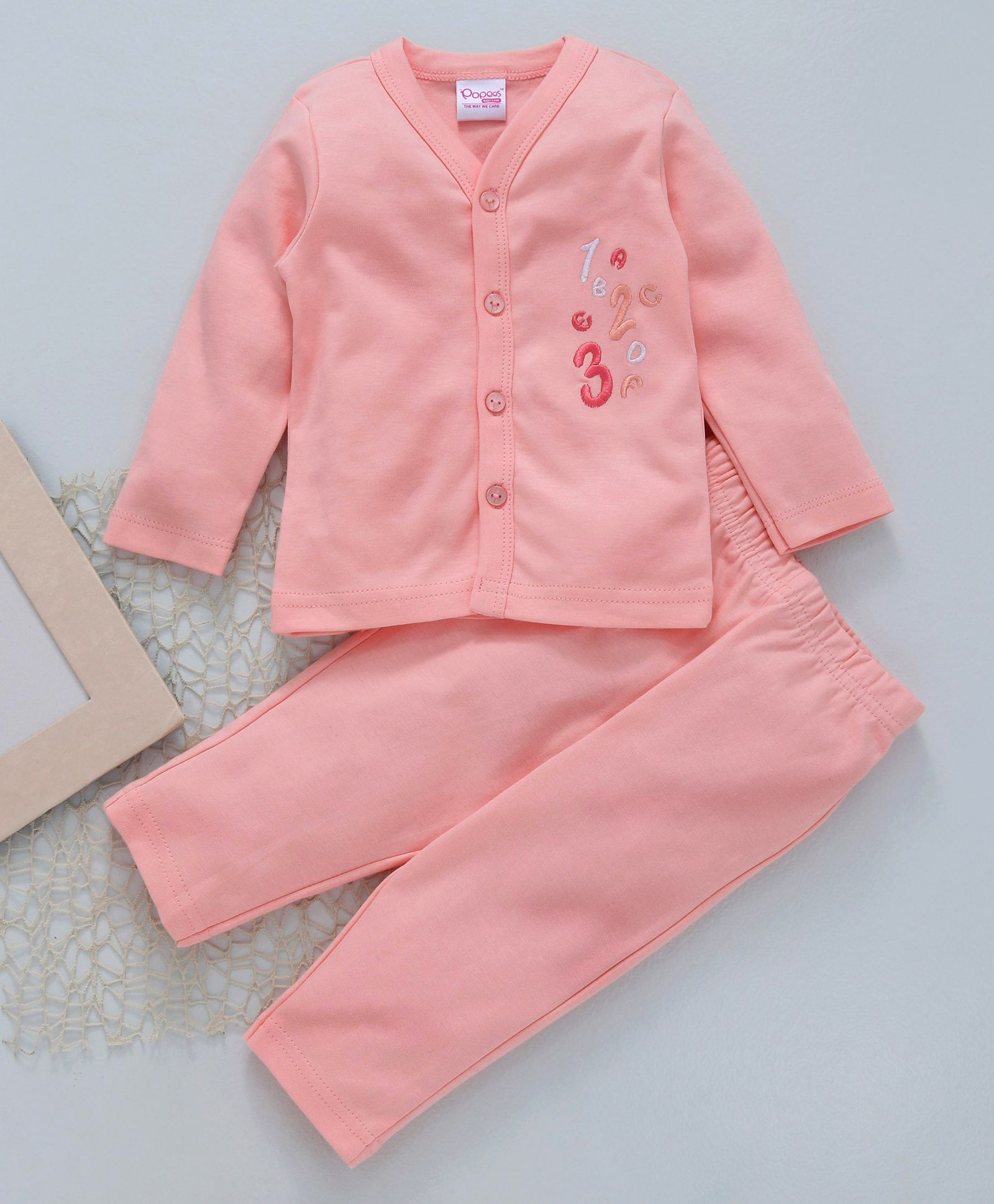 85f11f87378 Buy Popees Full Sleeves Cotton Night Suit Numbers Patch Peach for ...