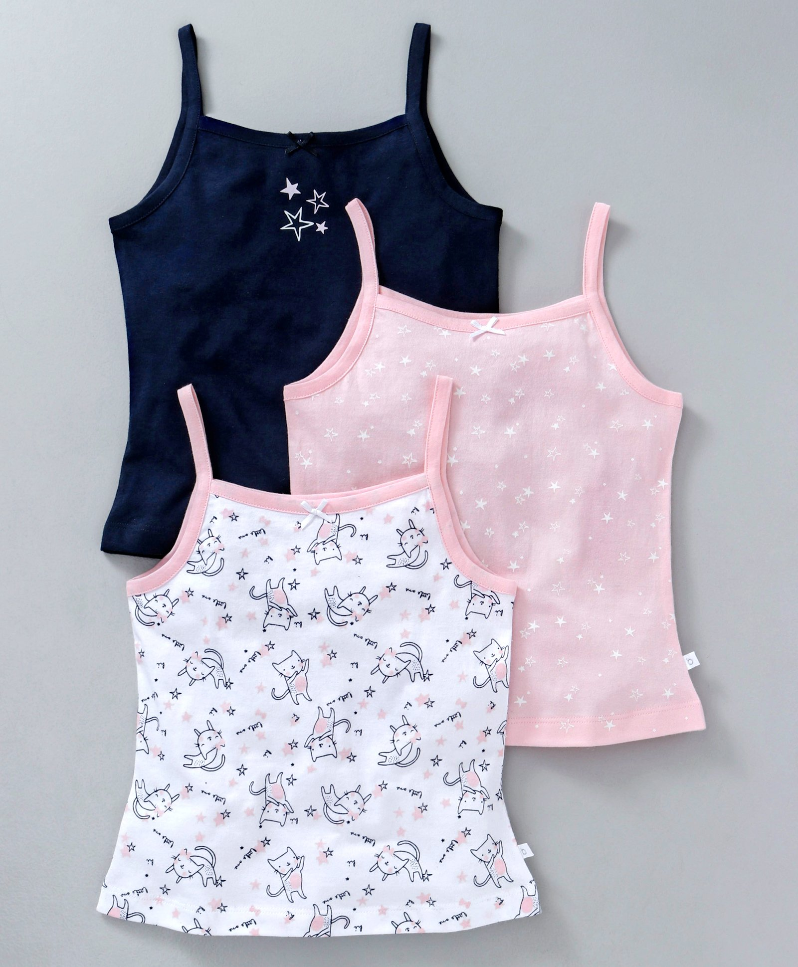 92706006a Buy Babyoye Cotton Singlet Printed Camisoles Pack of 3 Navy Pink ...