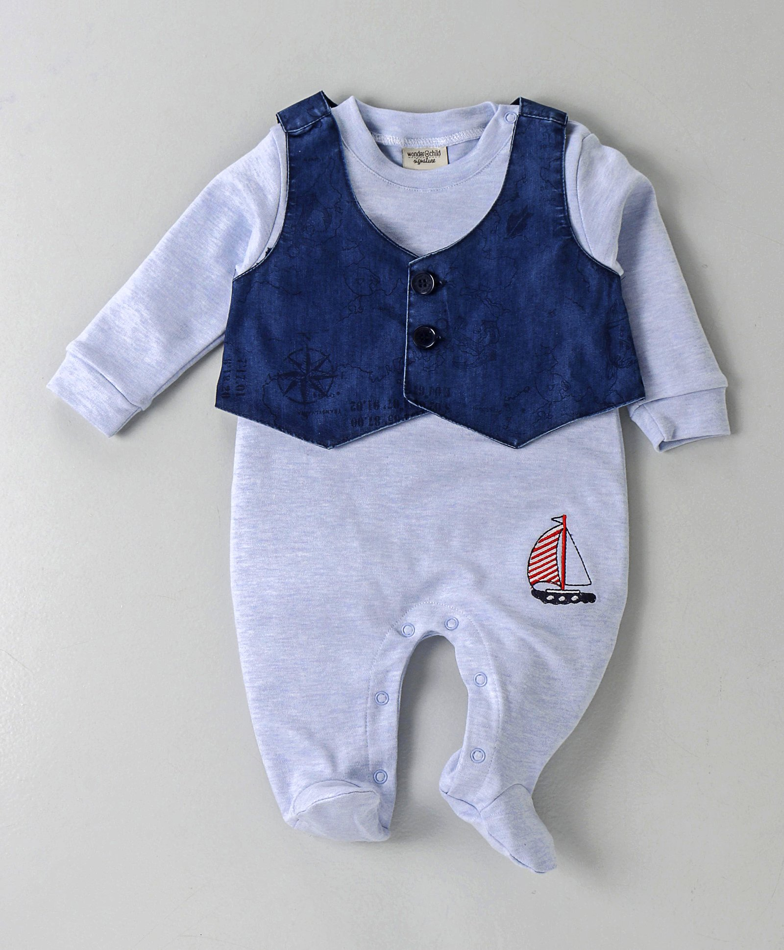 8d01eb560c5a Buy Wonderchild Full Sleeves Romper With Map Printed Jacket Blue ...