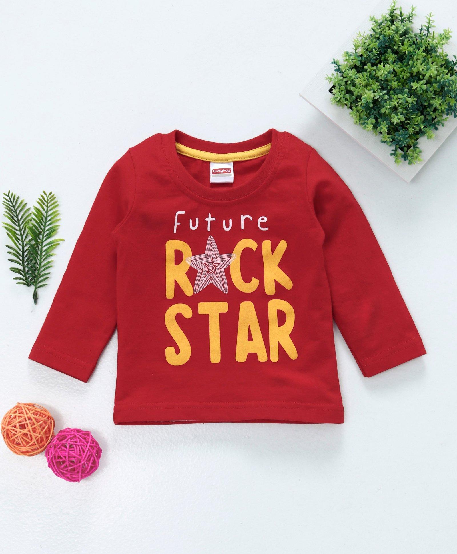 13c9d8769 Buy Babyhug Full Sleeves Tee Future Rock Star Print Red for Boys (3 ...