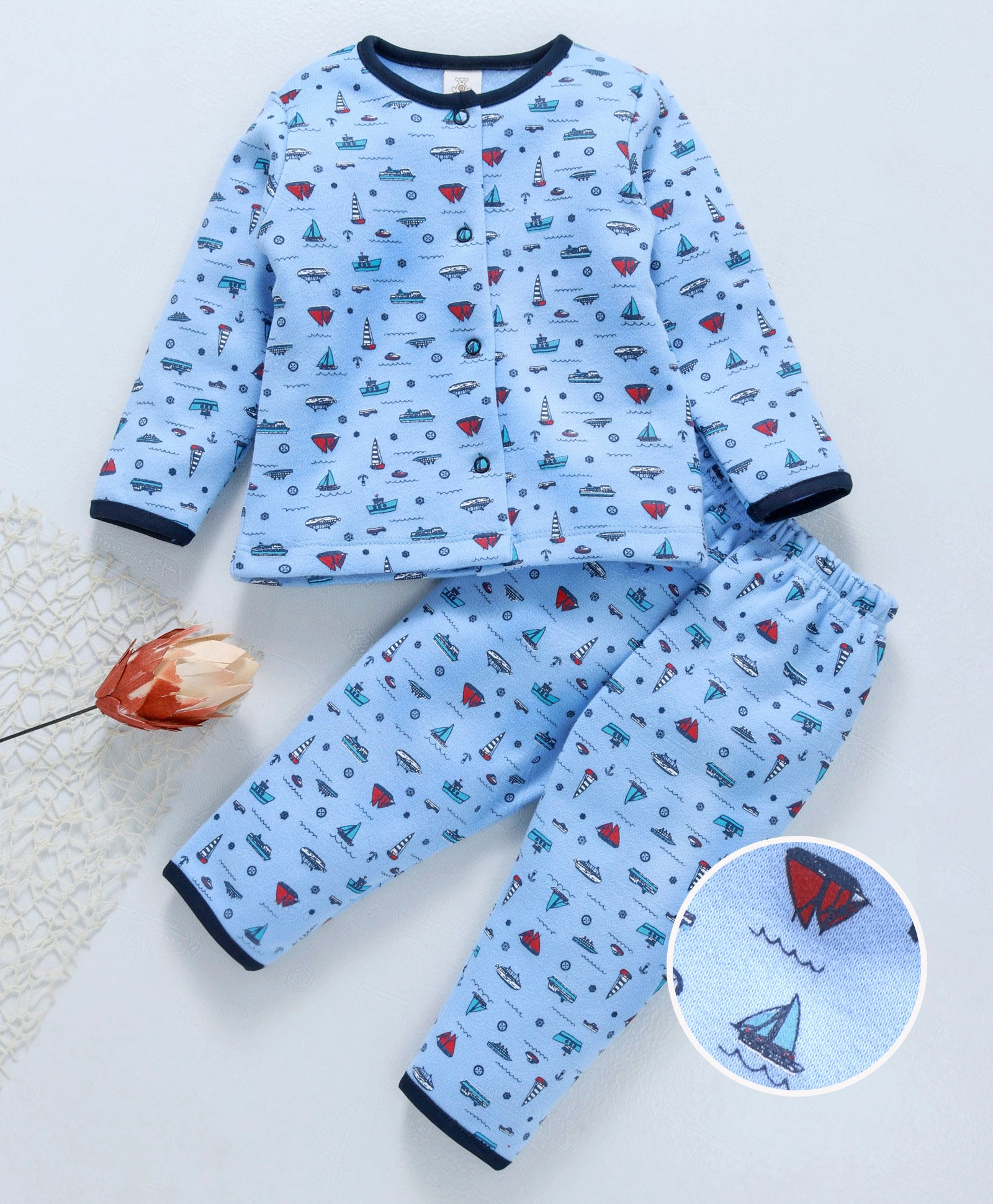 657e56d84 Buy Baby Naturelle   Me Full Sleeves Night Suit Boat Print Blue for ...