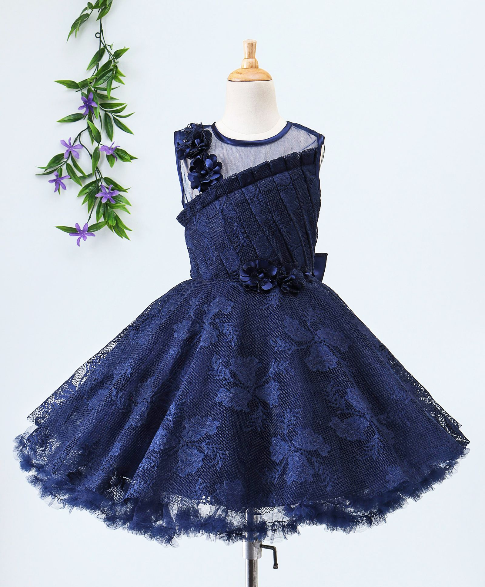 ef9cdde43124 Buy Babyhug Sleeveless Netted Jacquard Party Wear Frock With Floral ...