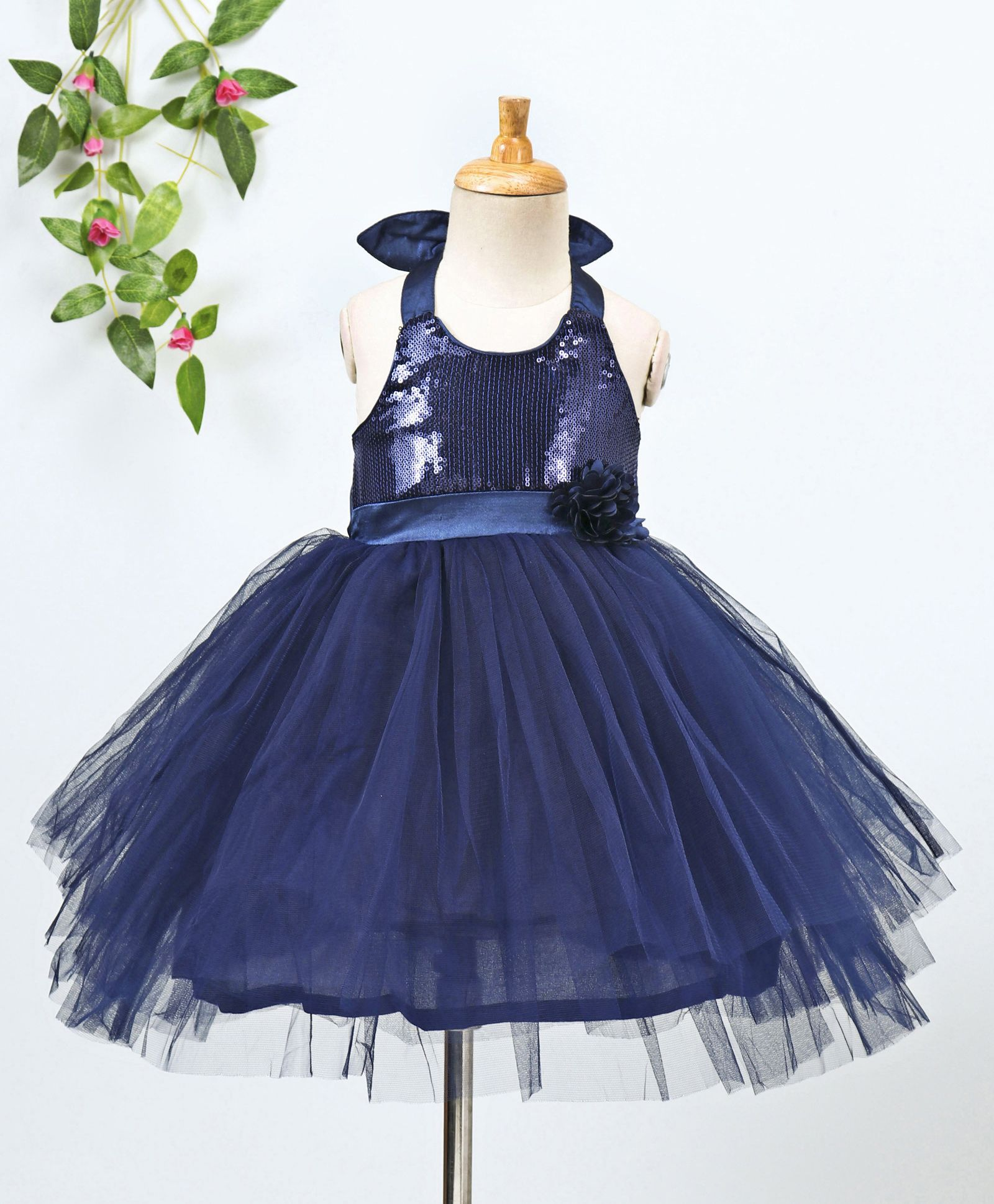 dcb38ad3 Buy Toy Balloon Flower Applique Sequin Dress Blue for Girls (7-8 ...