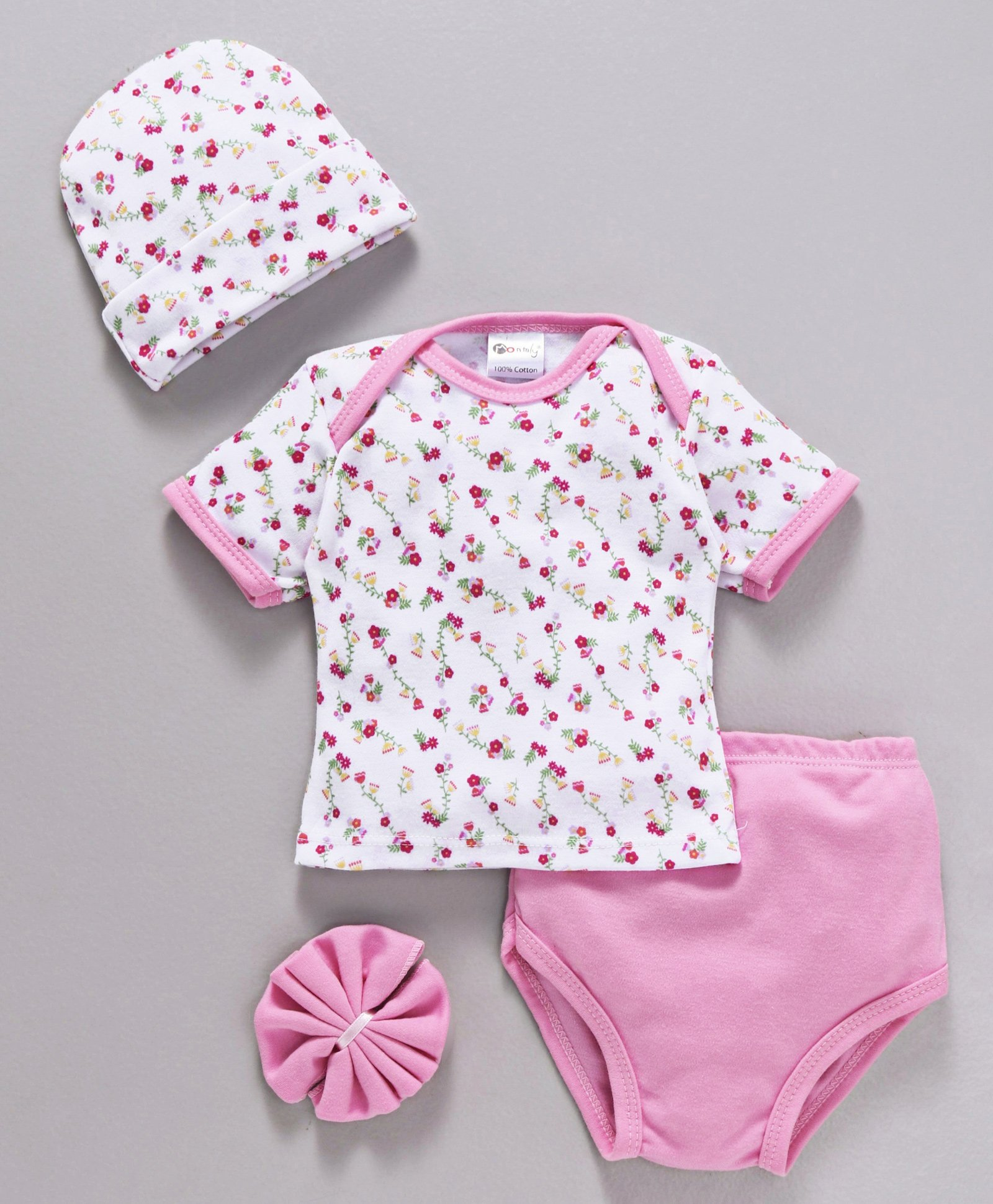 e6cc74864147a Montaly Baby Clothing Gift Set Floral Print Pink 4 Pieces for Girls (0-6 ...