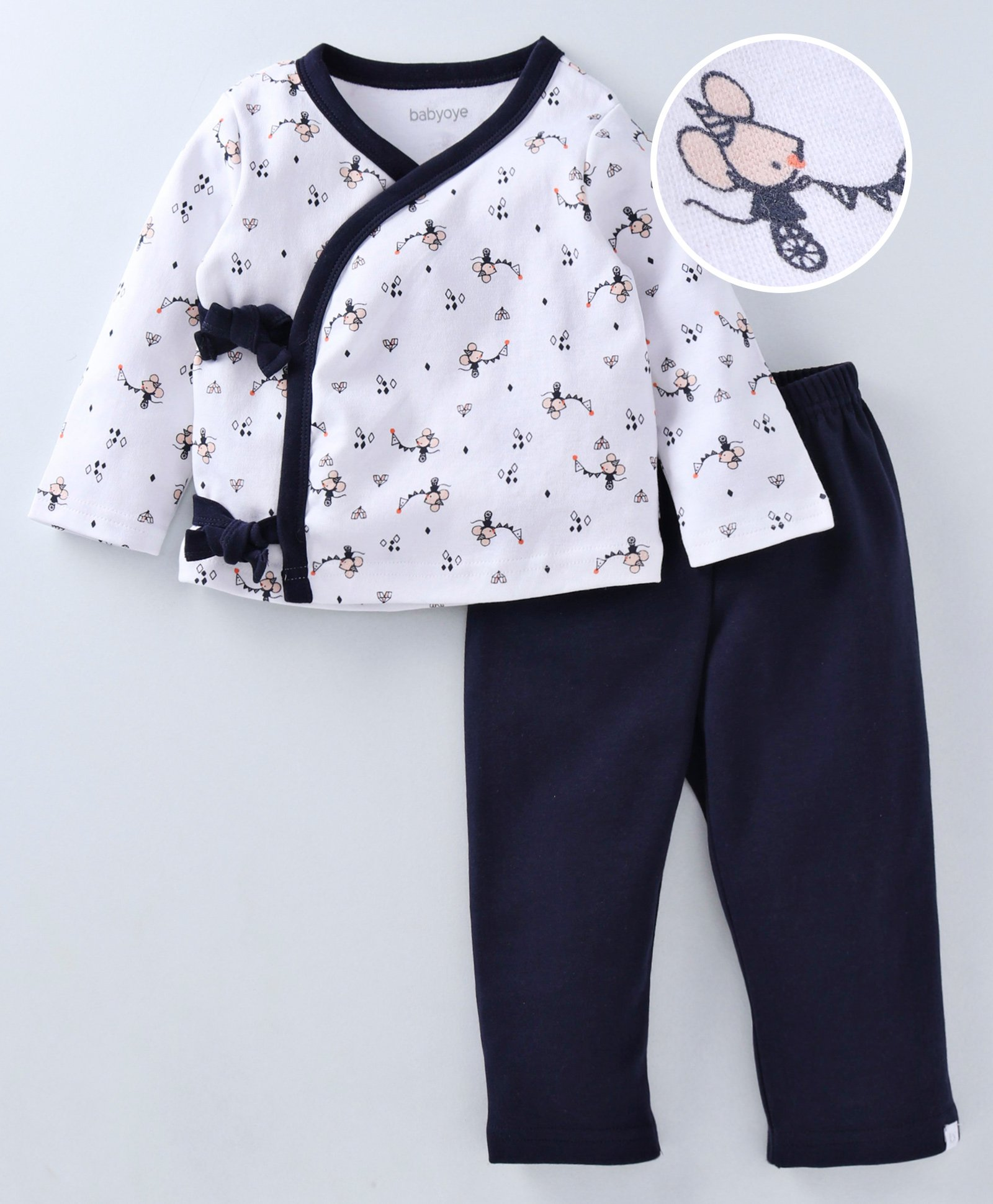 bf717c836 Babyoye Full Sleeves Tie Knot Style Cotton Tee With Lounge Pant Mouse Print  - Navy