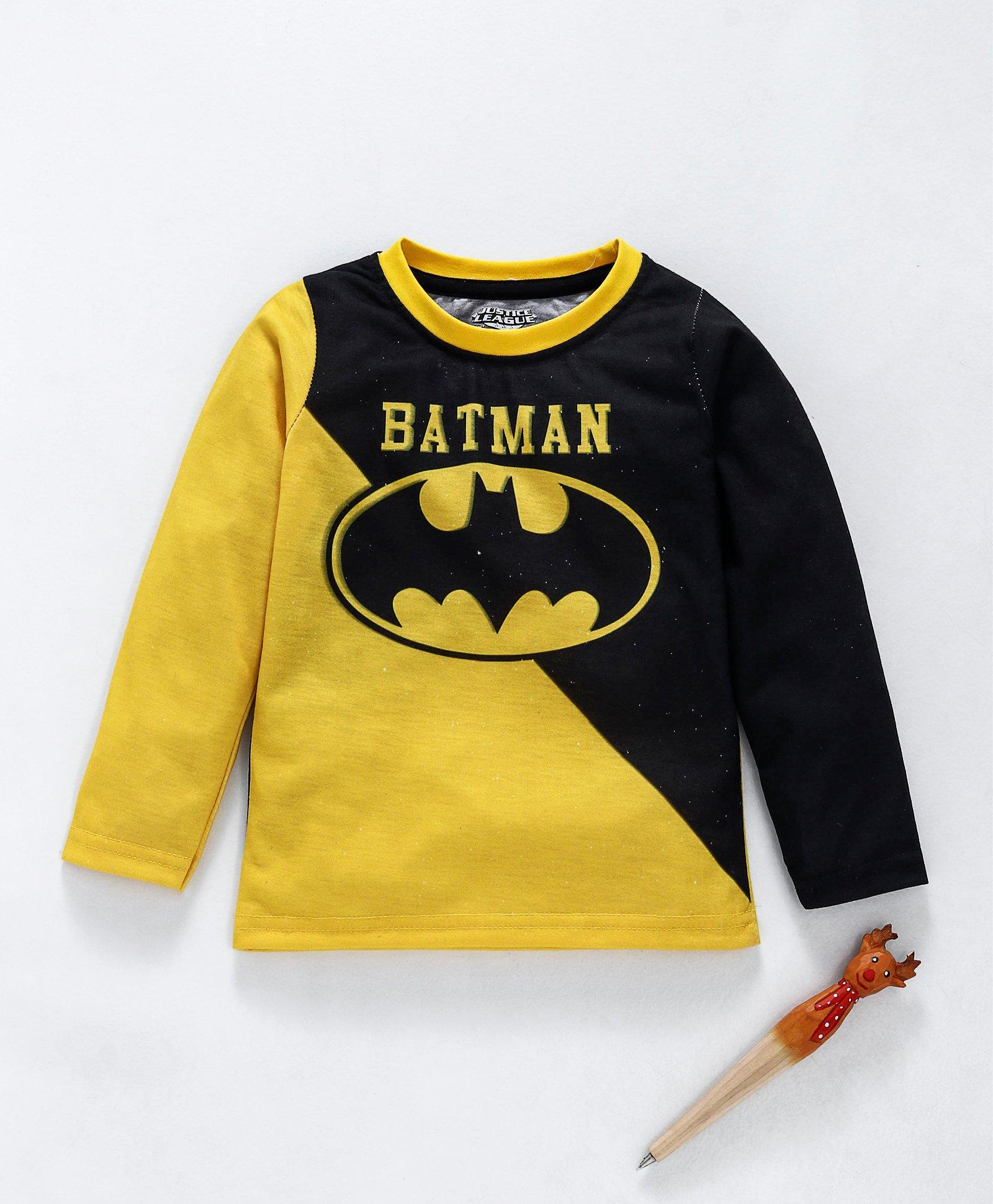 d0f6470874 Buy Game Begins Full Sleeves Tee Batman Print Black Yellow for ...
