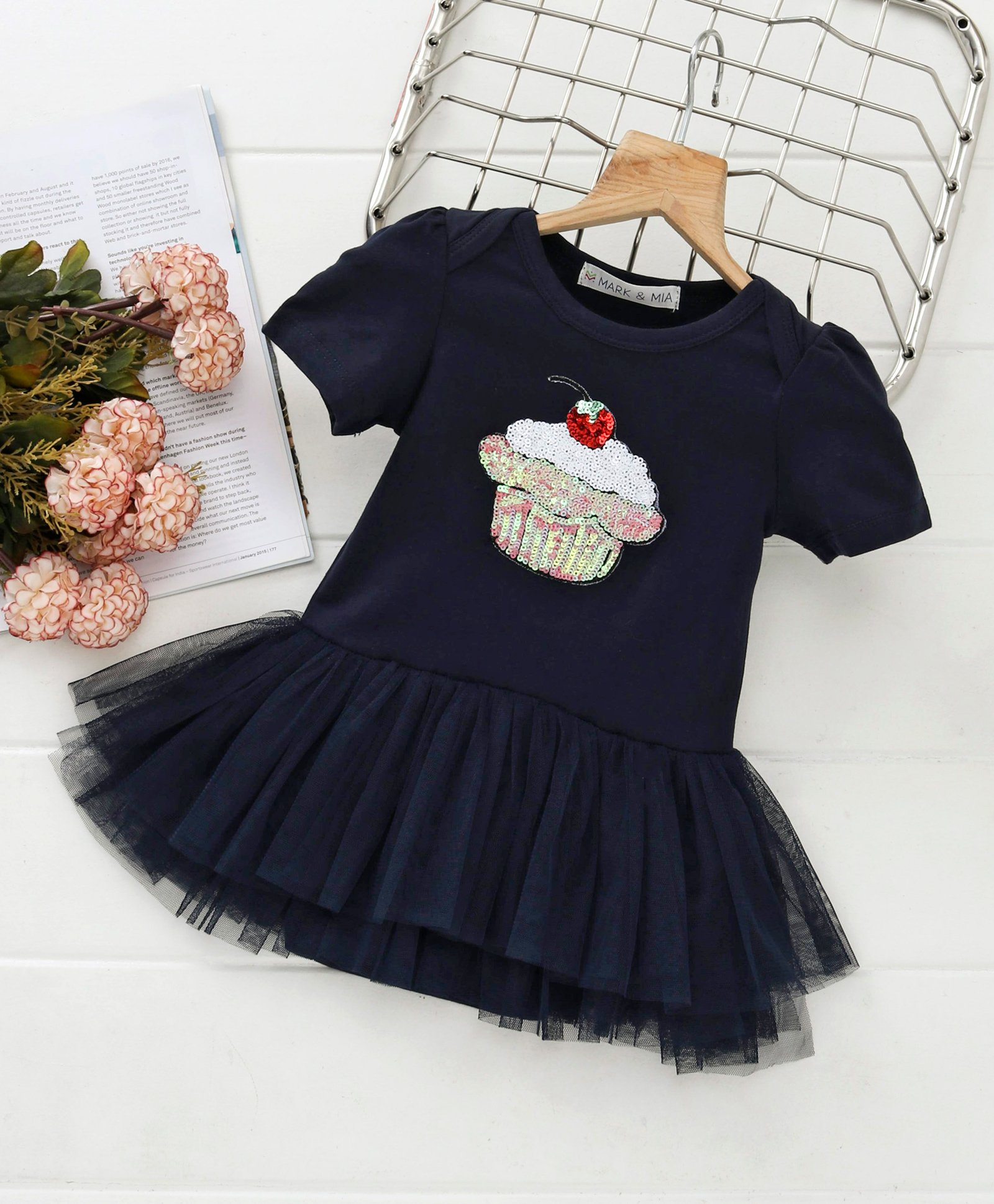17fb19cfbc68c Buy Mark & Mia Sequined Cupcake Design Half Sleeves Onesie Dress Navy for  Girls (9-12 Months) Online in India, Shop at FirstCry.com - 2402881