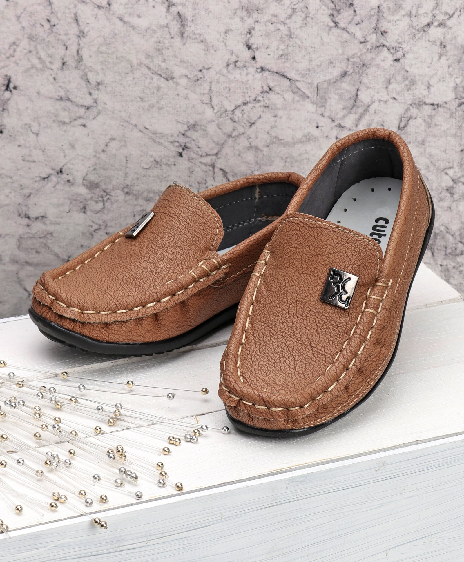 049d6e54c806 Buy Cute Walk by Babyhug Party Wear Loafer Shoes Brown for Boys ...