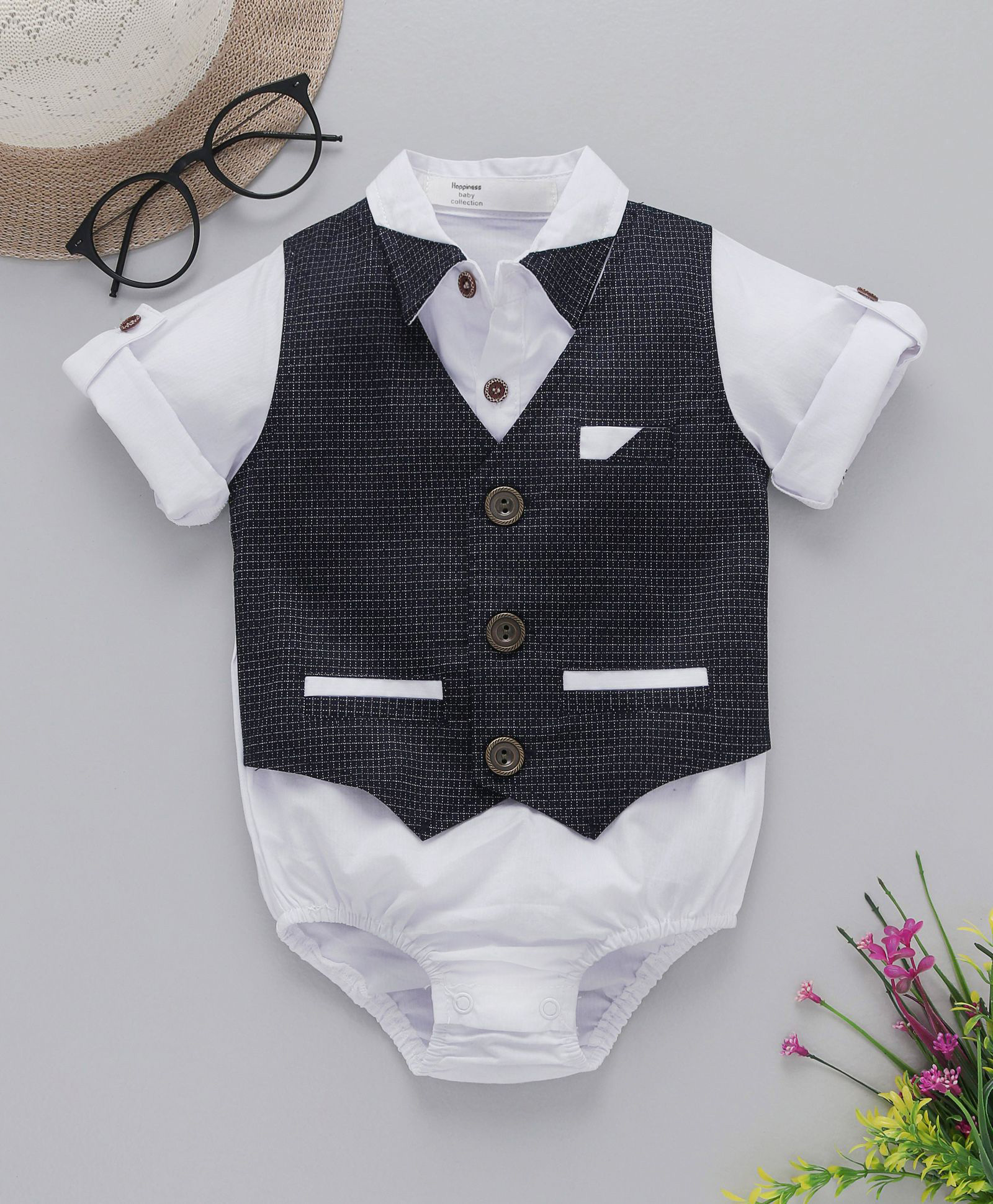 c3cff61c82c6 Buy Happiness Checked Full Sleeves Onesie White & Grey for Boys (6 ...