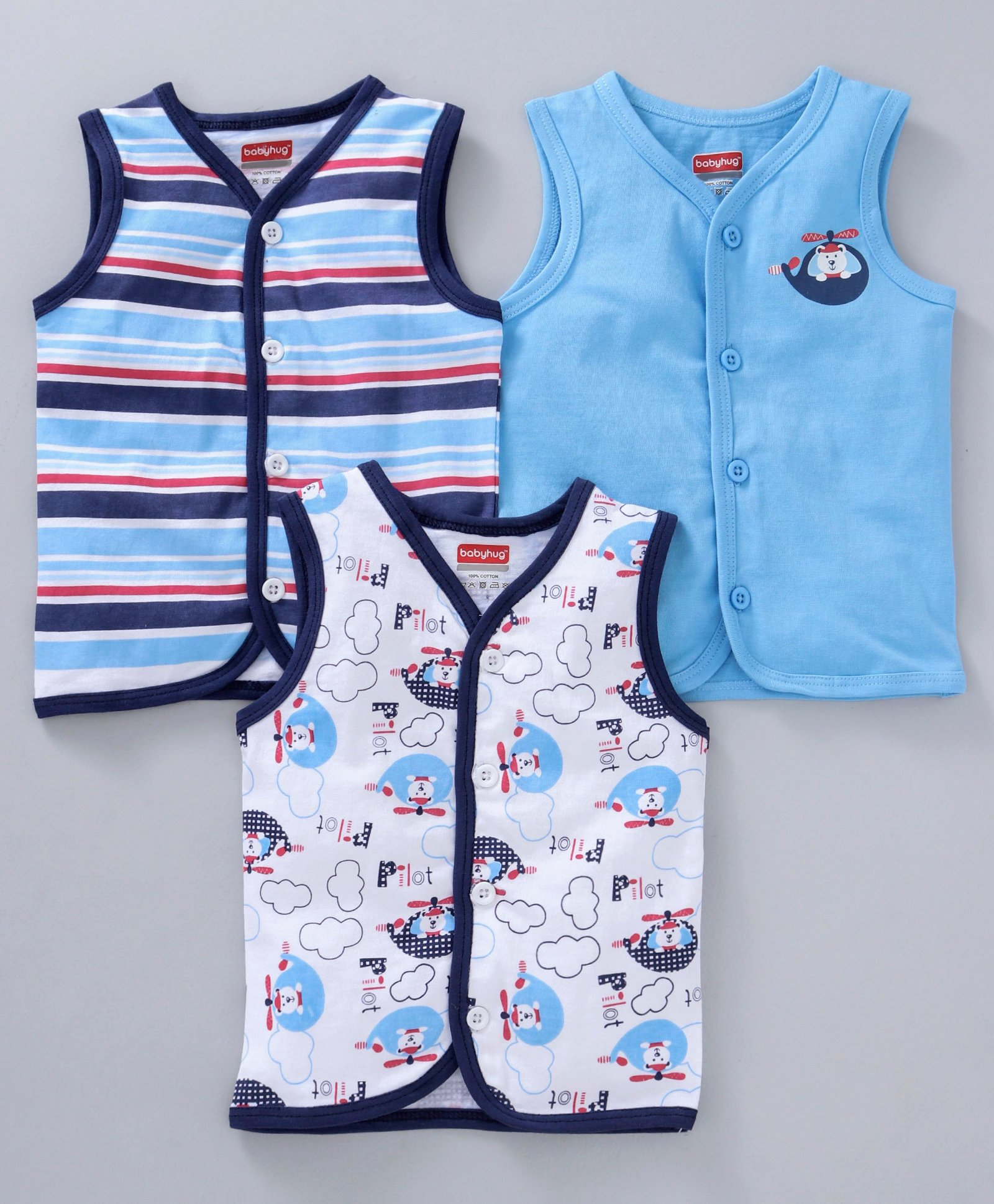 d172559a5ec8e5 Babyhug Cotton Sleeveless Vests Stripes   Pilot Print Pack of 3 - Blue White