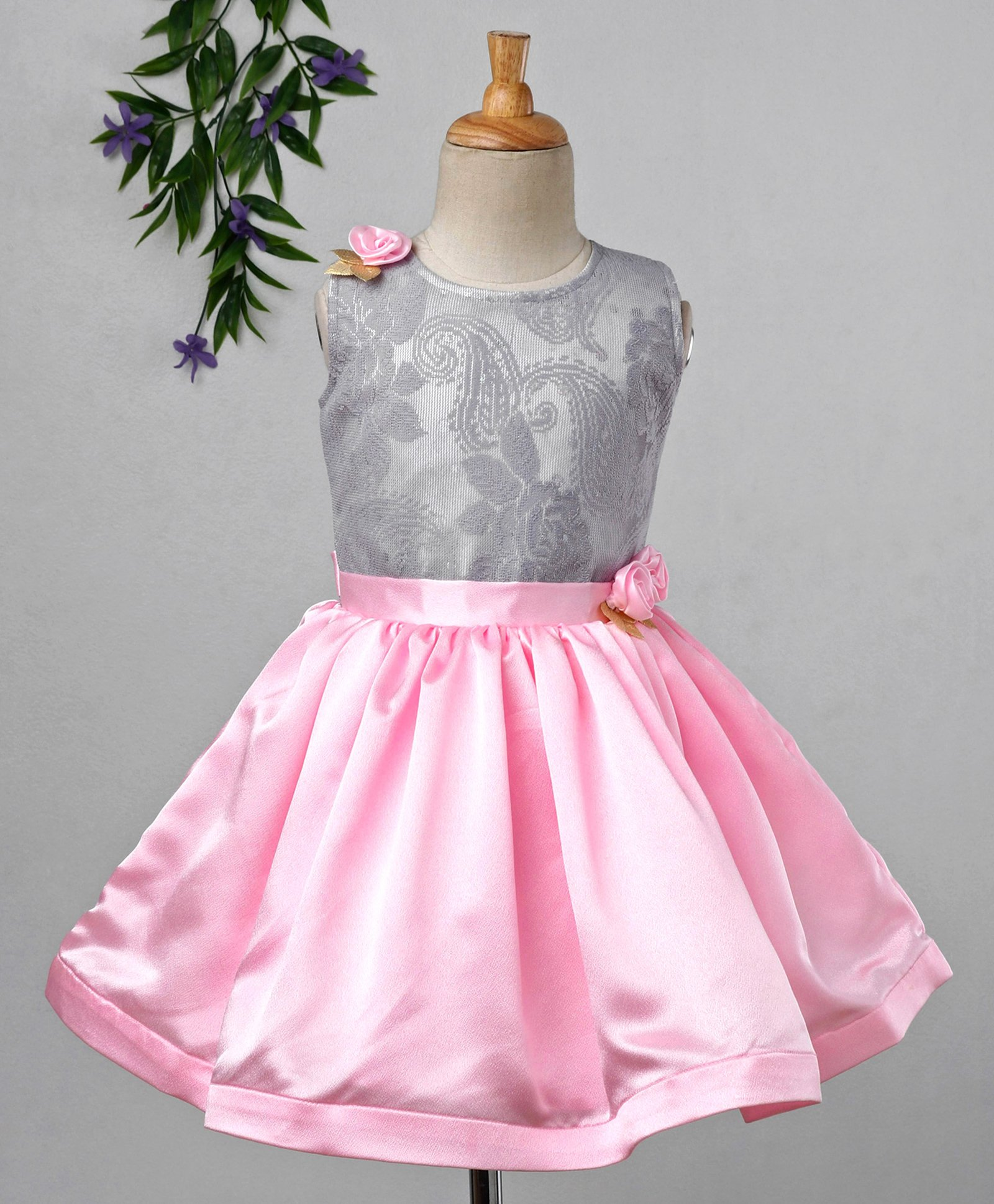 d630584d5 Buy Babyhug Sleeveless Party Wear Frock With Damask Bodice Grey ...