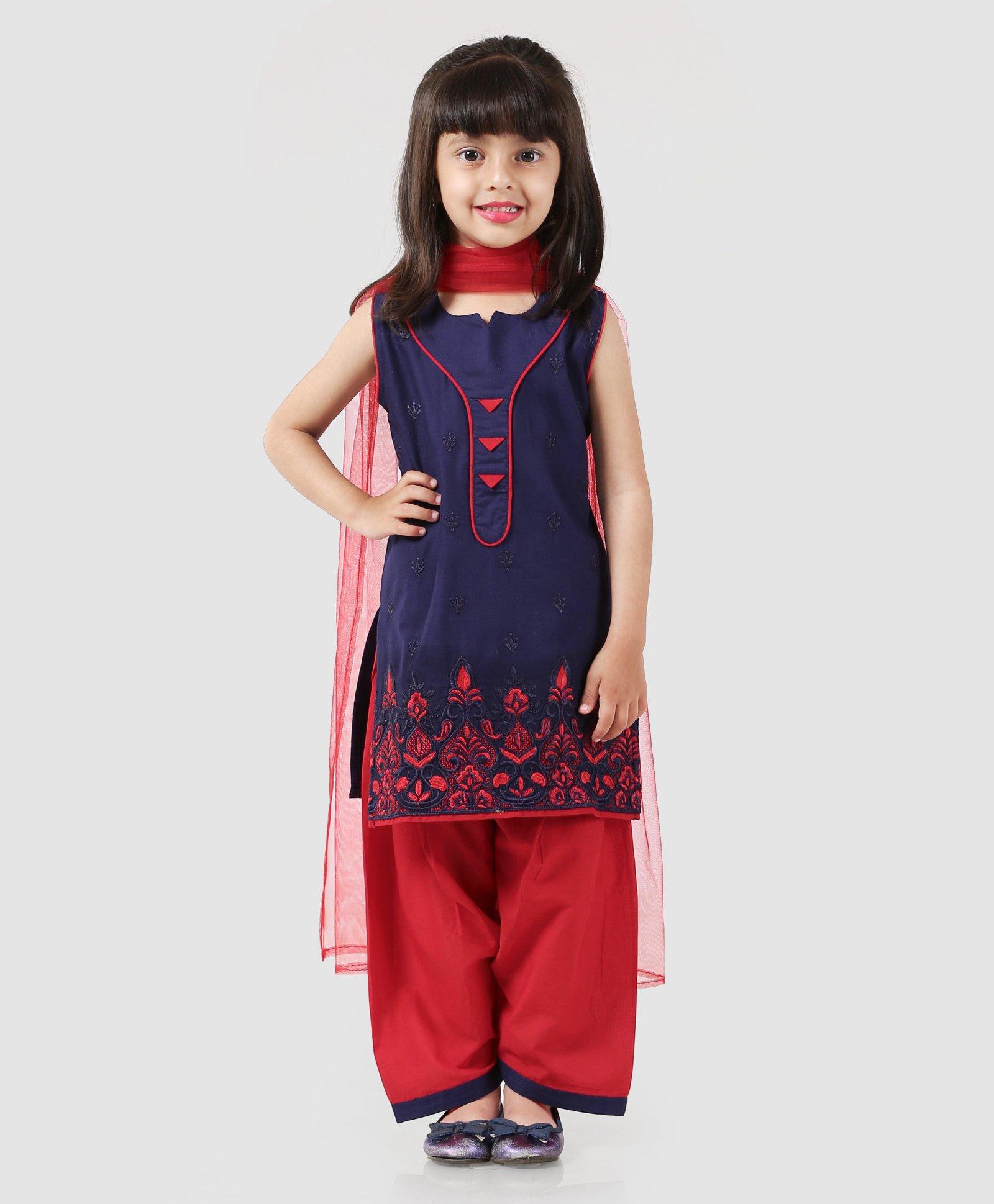fc35129cbd Babyhug Sleeveless Embroidered Kurti & Salwar With Dupatta - Navy Blue Red