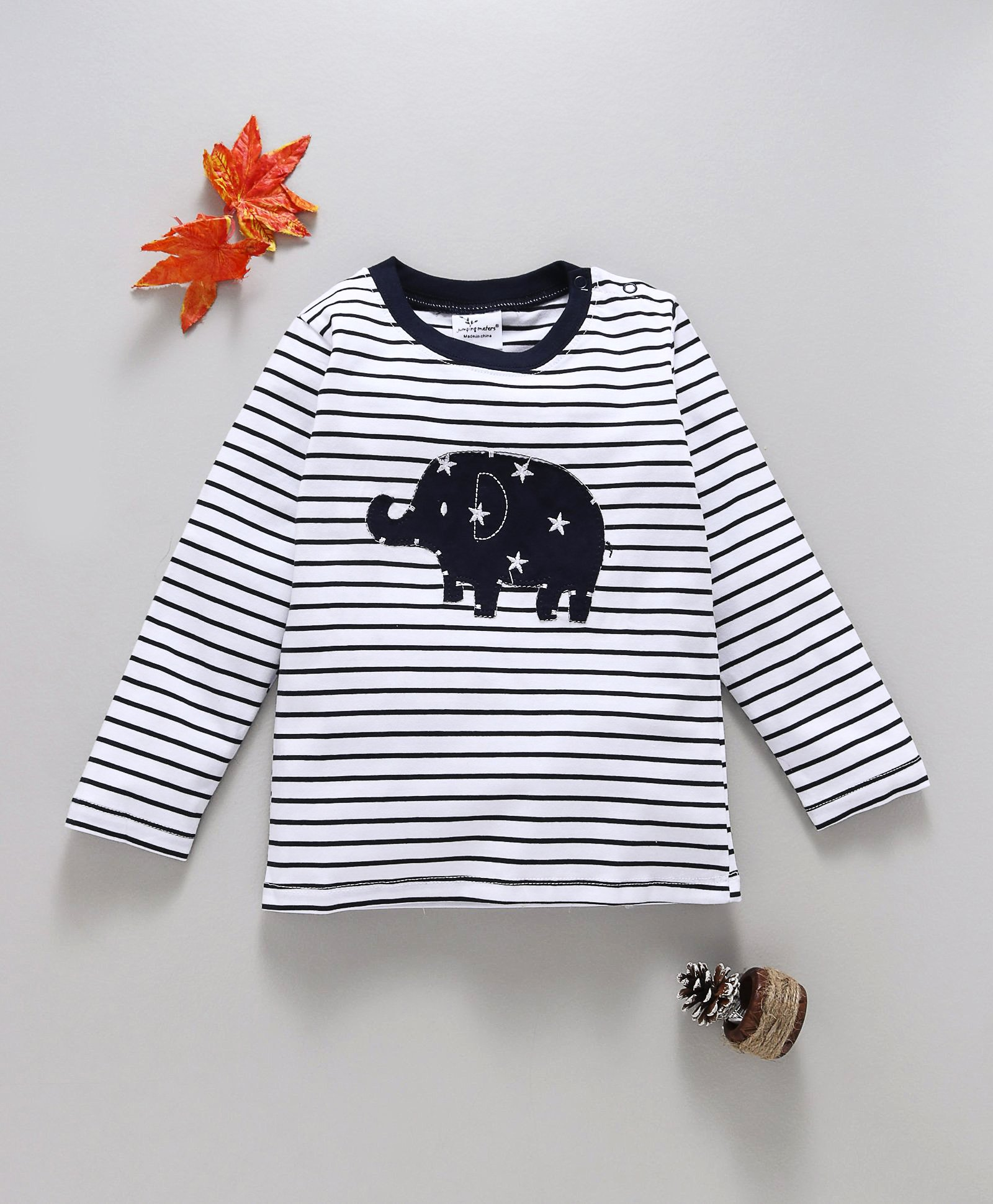 d56a1c0118e9 Buy Kookie Kids Striped Full Sleeves Tee With Elephant Patch White ...