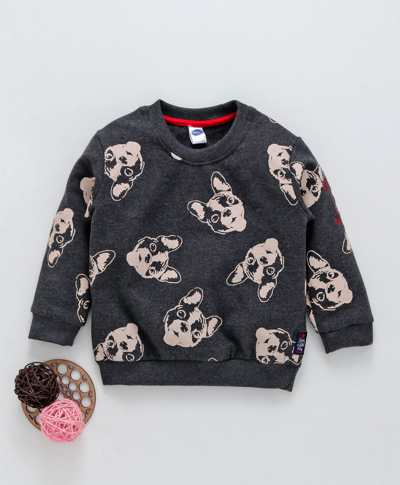 7d012b63beae Buy Teddy Winter Wear Tee Puppy Print Black for Boys (18-24 Months ...