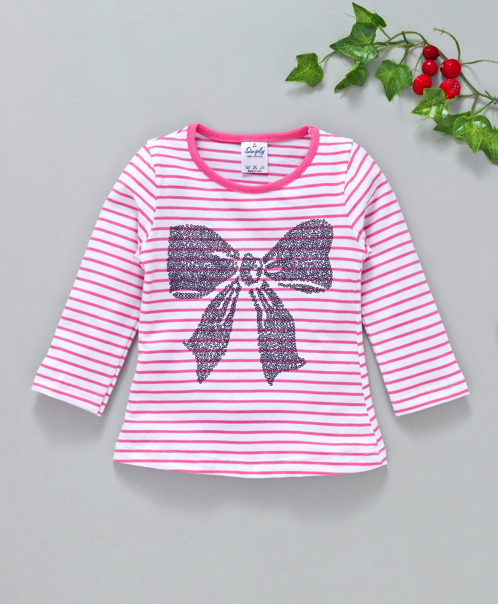 177d67052b748 Buy Simply Full Sleeves Striped Top Sequin Bow Design Pink for Girls (6-12  Months) Online in India, Shop at FirstCry.com - 2444065