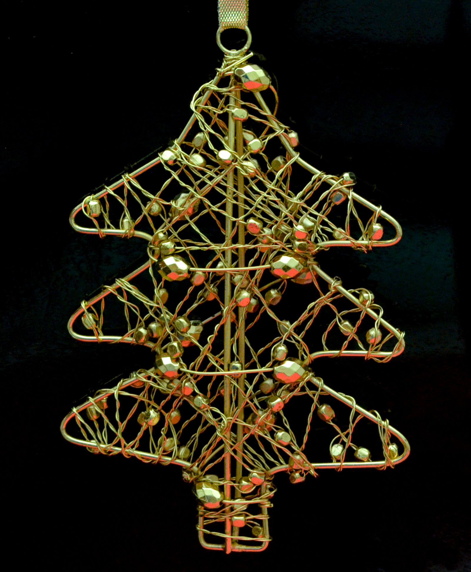Tangerine Christmas Tree Hanging Ornaments Pack Of 2 Golden