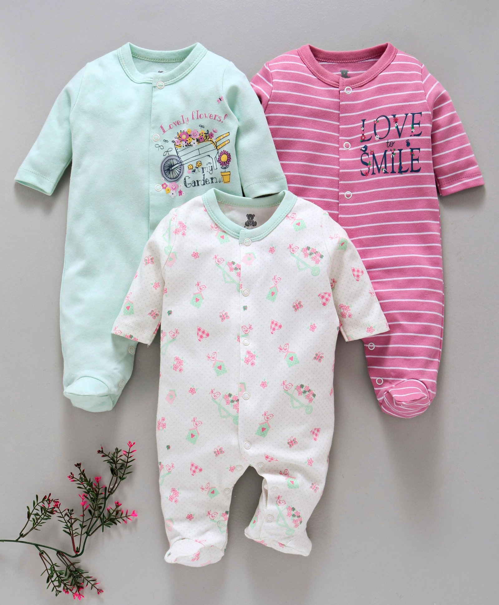 33e7672f569f Buy I Bears Full Sleeves Footed Rompers Pack of 3 Pink White   Sea ...