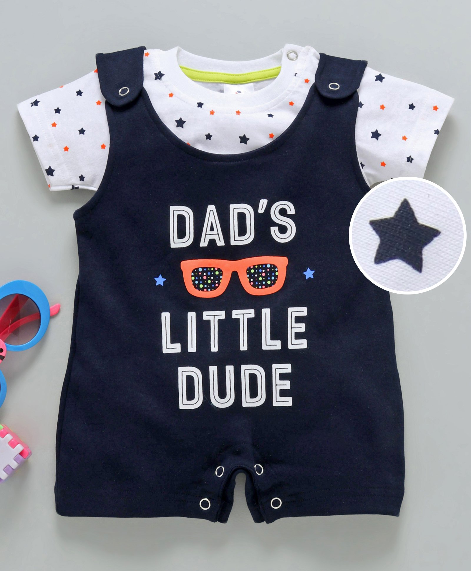 93d19700e6130 Buy Ollypop Dungaree Romper With Tee Little Dude Print Navy Blue ...