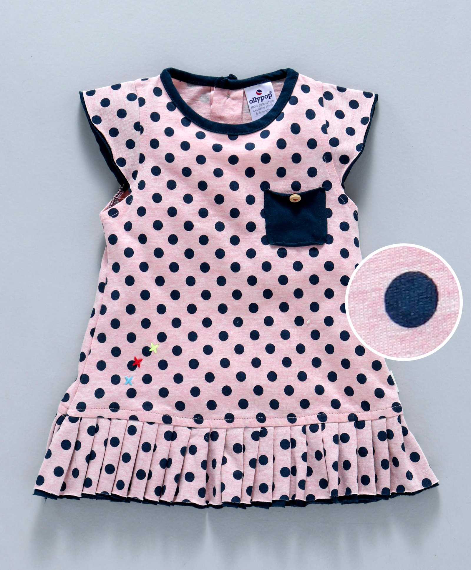 72a4f1573e4 Buy Ollypop Cap Sleeves Polka Dotted Frock Pink Blue for Girls (3-6 ...