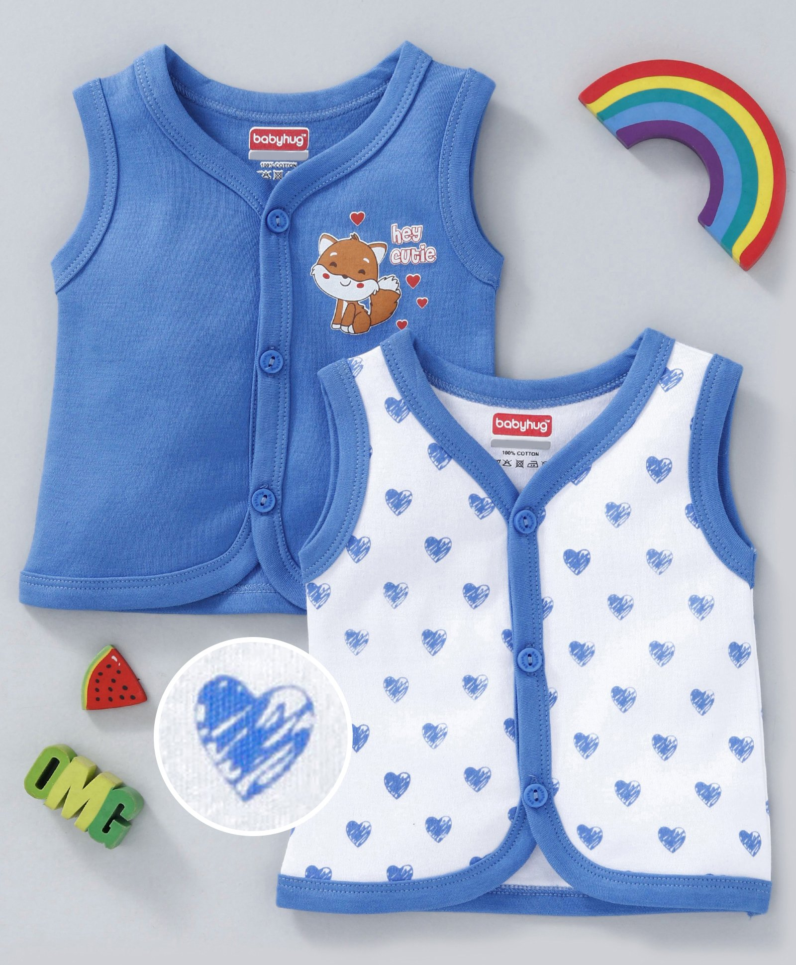 98a1b0407de3bb Babyhug Sleeveless Cotton Vests Hearts Print Pack of 2 - Blue White