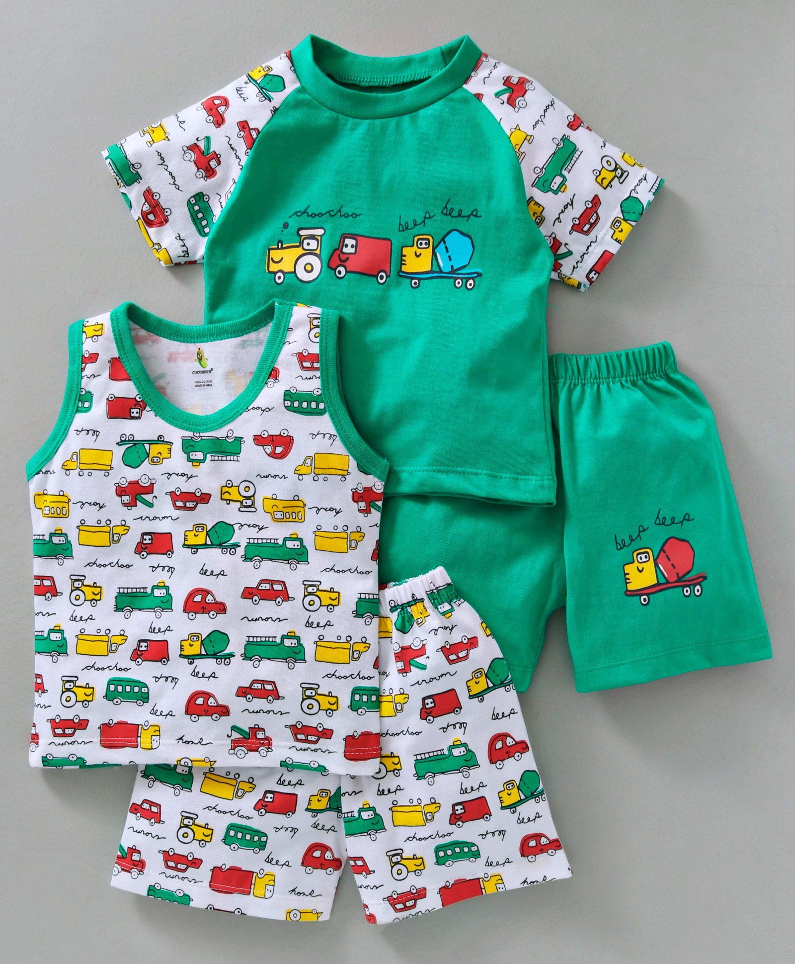 Buy Cucumber Round Neck Tee With Shorts Vehicle Print Pack of 2 Green for  Boys (3-6 Months) Online in India, Shop at FirstCry com - 2468953