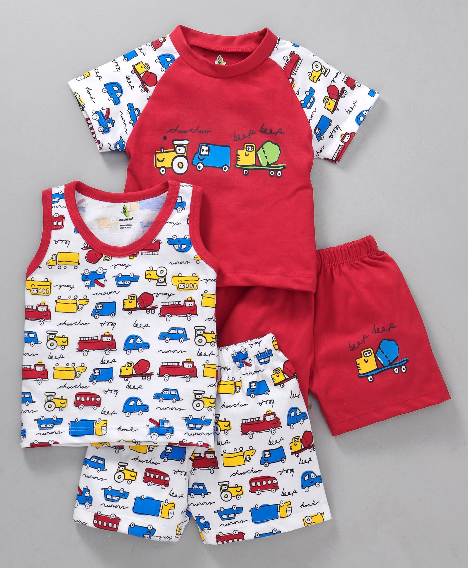 Buy Cucumber Round Neck Tee With Shorts Vehicle Print Pack of 2 Red for  Boys (3-6 Months) Online in India, Shop at FirstCry com - 2468955