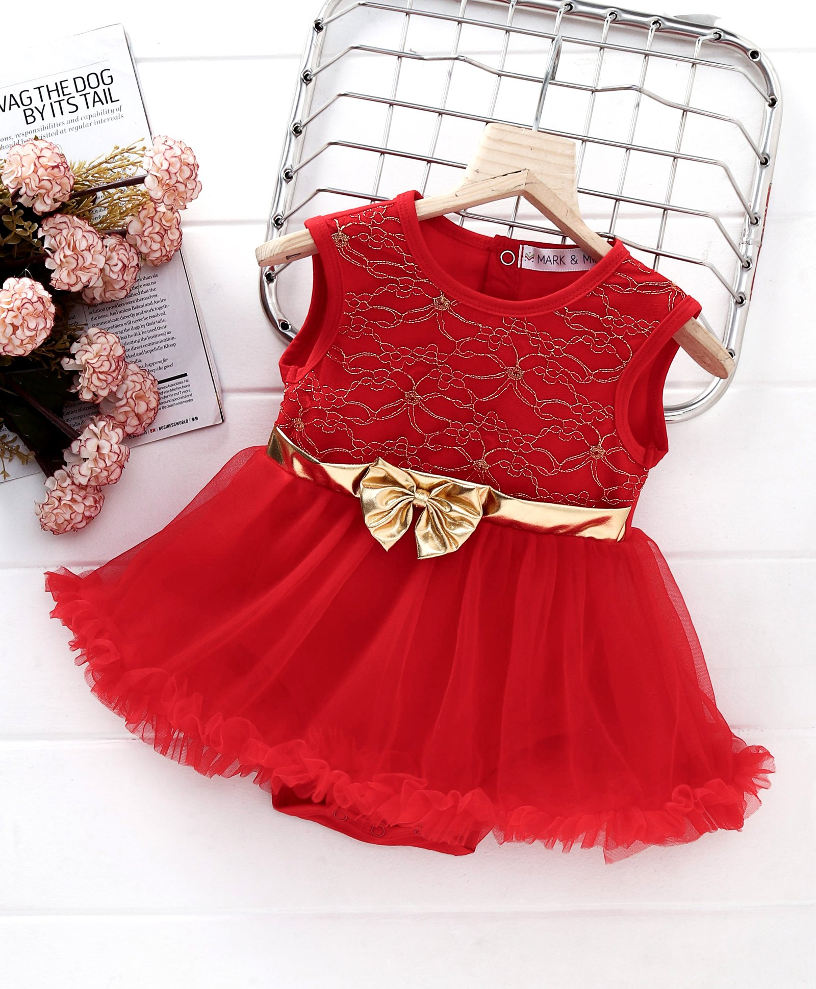 3cb4e6959ccc9 Buy Mark & Mia Embroidery Work Sleeveless Net Onesie Dress Red for Girls  (6-9 Months) Online in India, Shop at FirstCry.com - 2477814