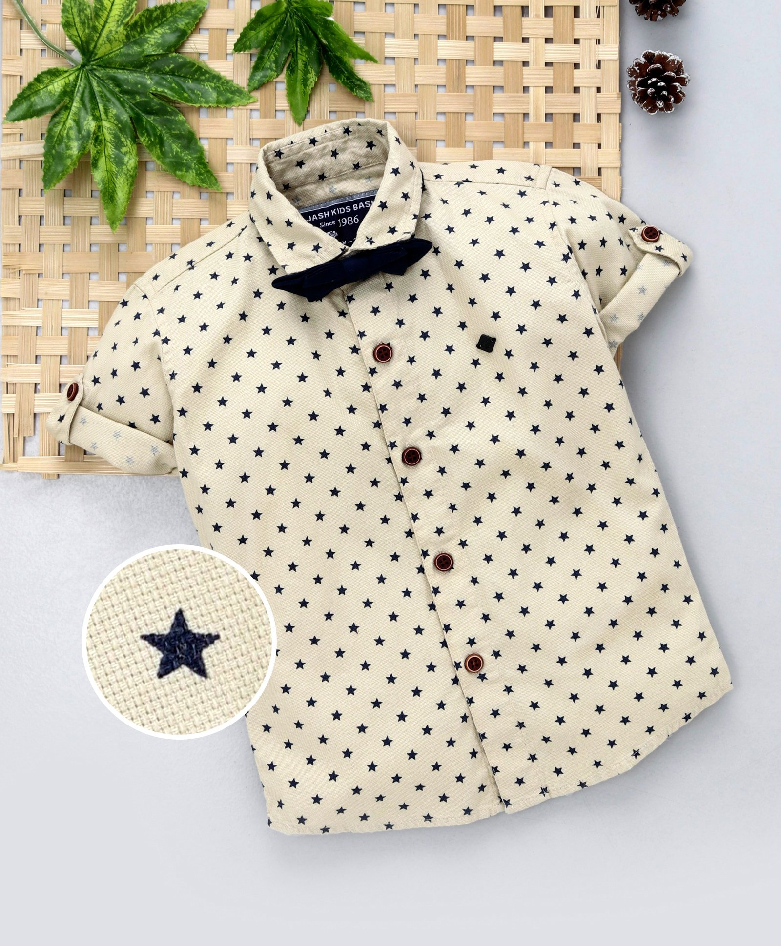 89bd6cde Jash Kids Half Sleeves Stars Printed Party Wear Shirt With Bow Tie - Beige
