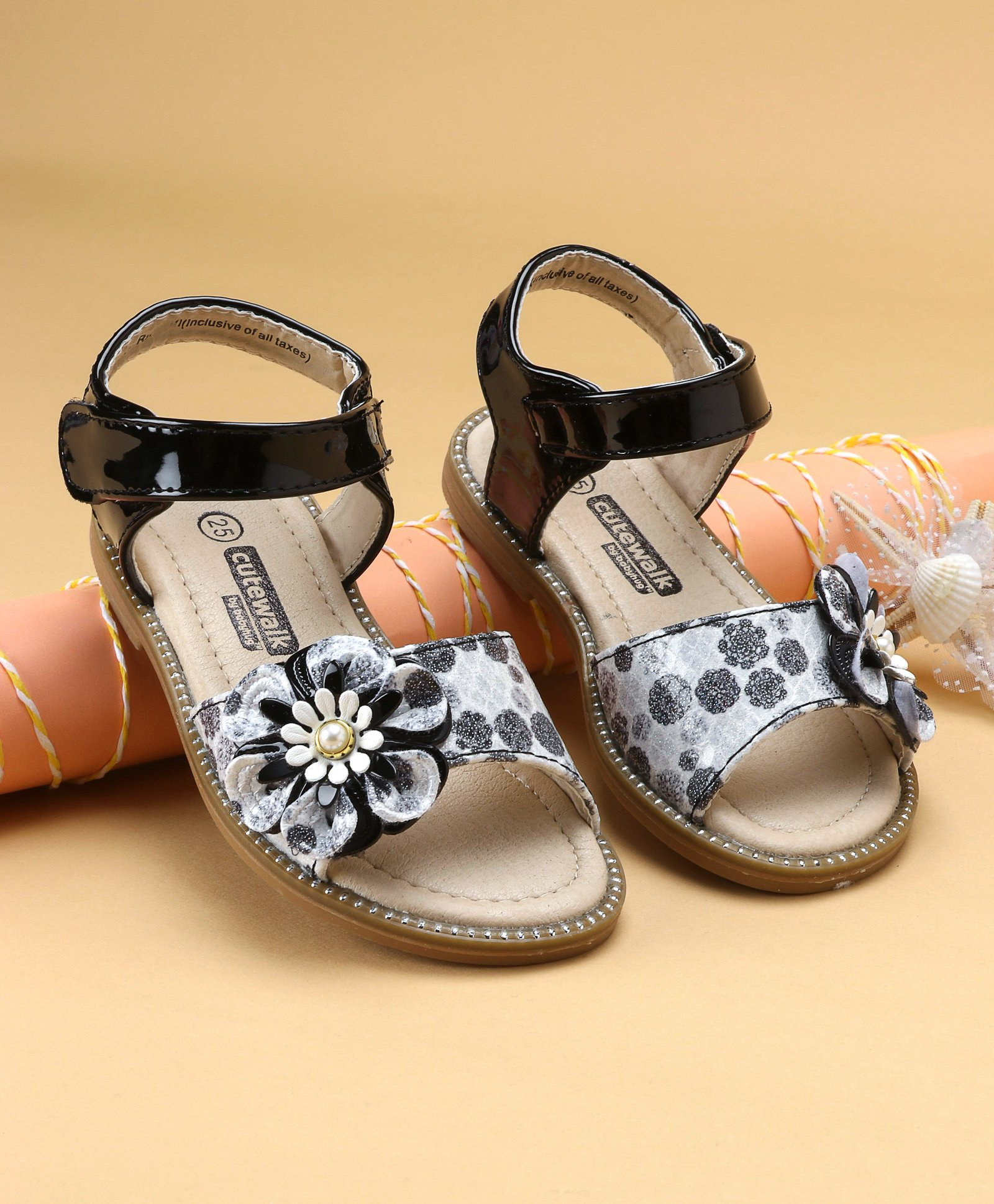 7f52ea3fd91 Buy Cute Walk by Babyhug Party Wear Sandals With Floral Motif Black ...