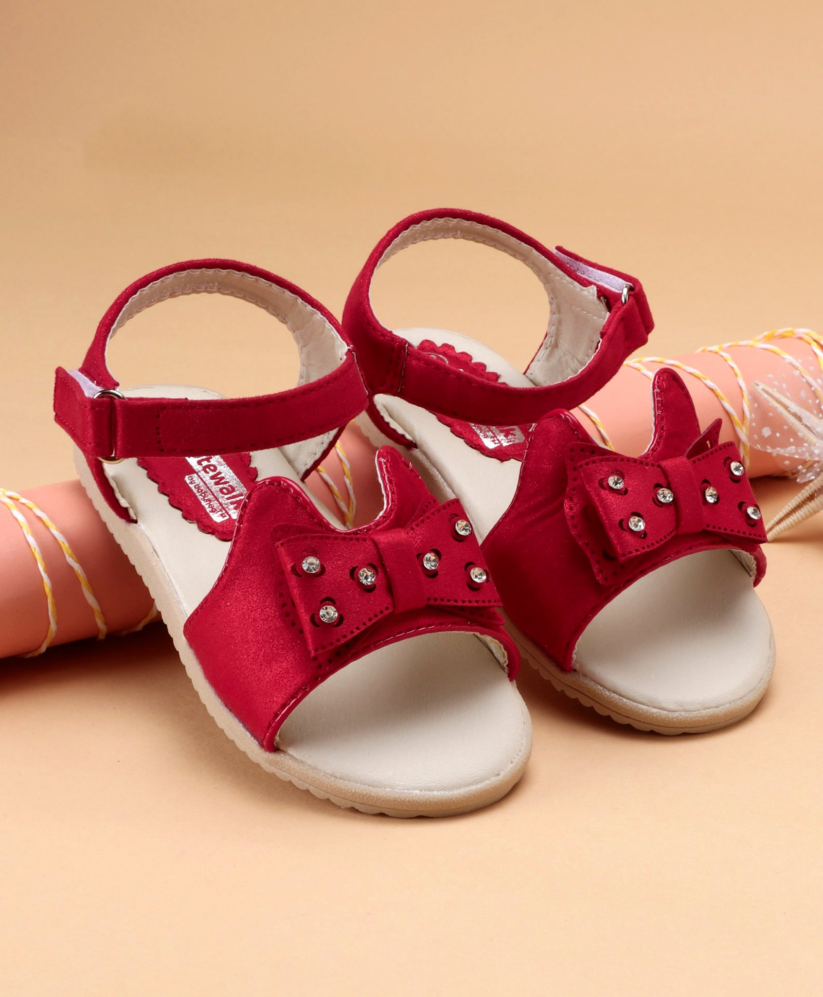 770255fb613 Buy Cute Walk by Babyhug Peep Toe Sandals With Bow Motif Red for ...