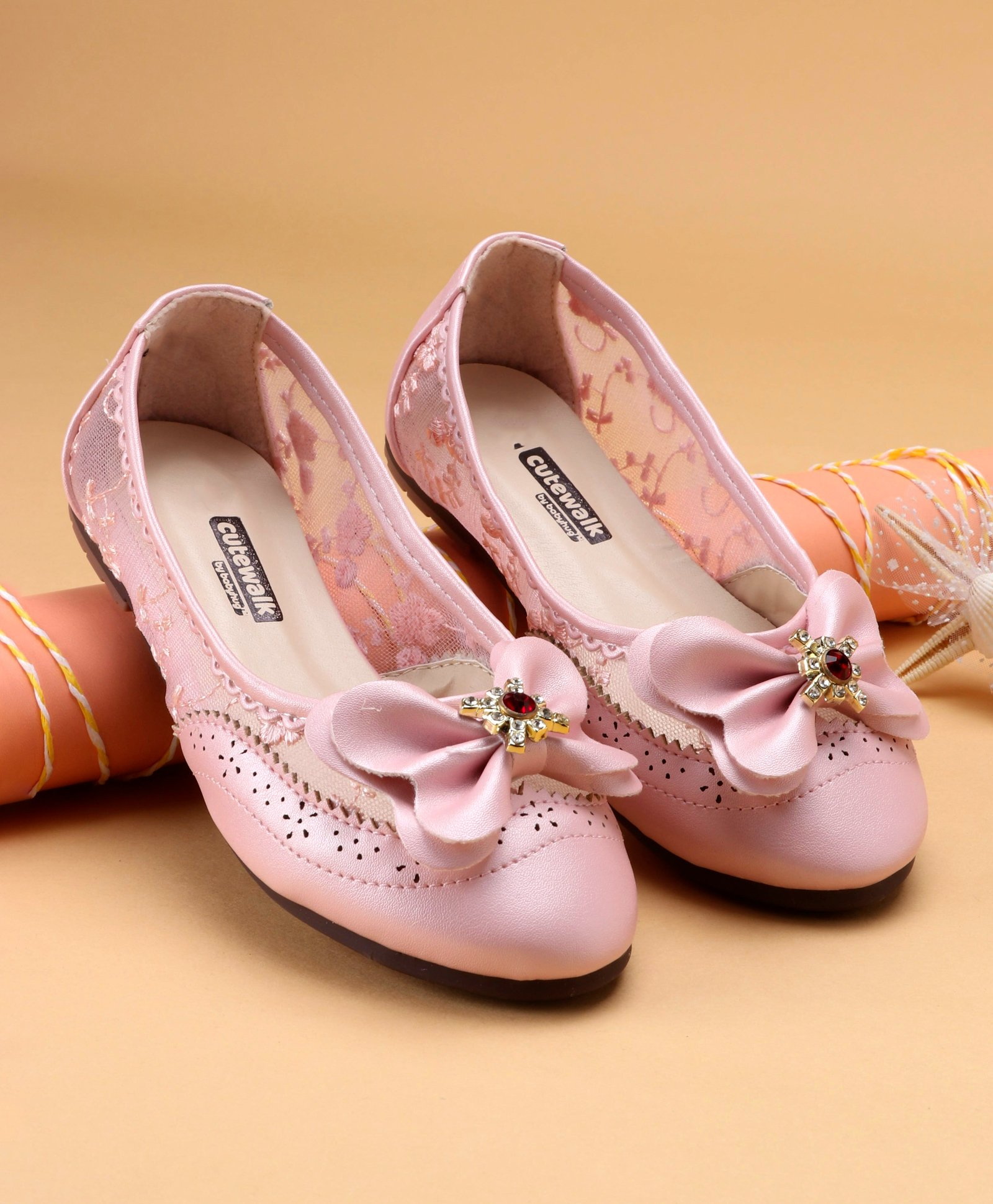 e7679fbe0 Buy Cute Walk by Babyhug Belly Shoes Studded Bow Design Light ...
