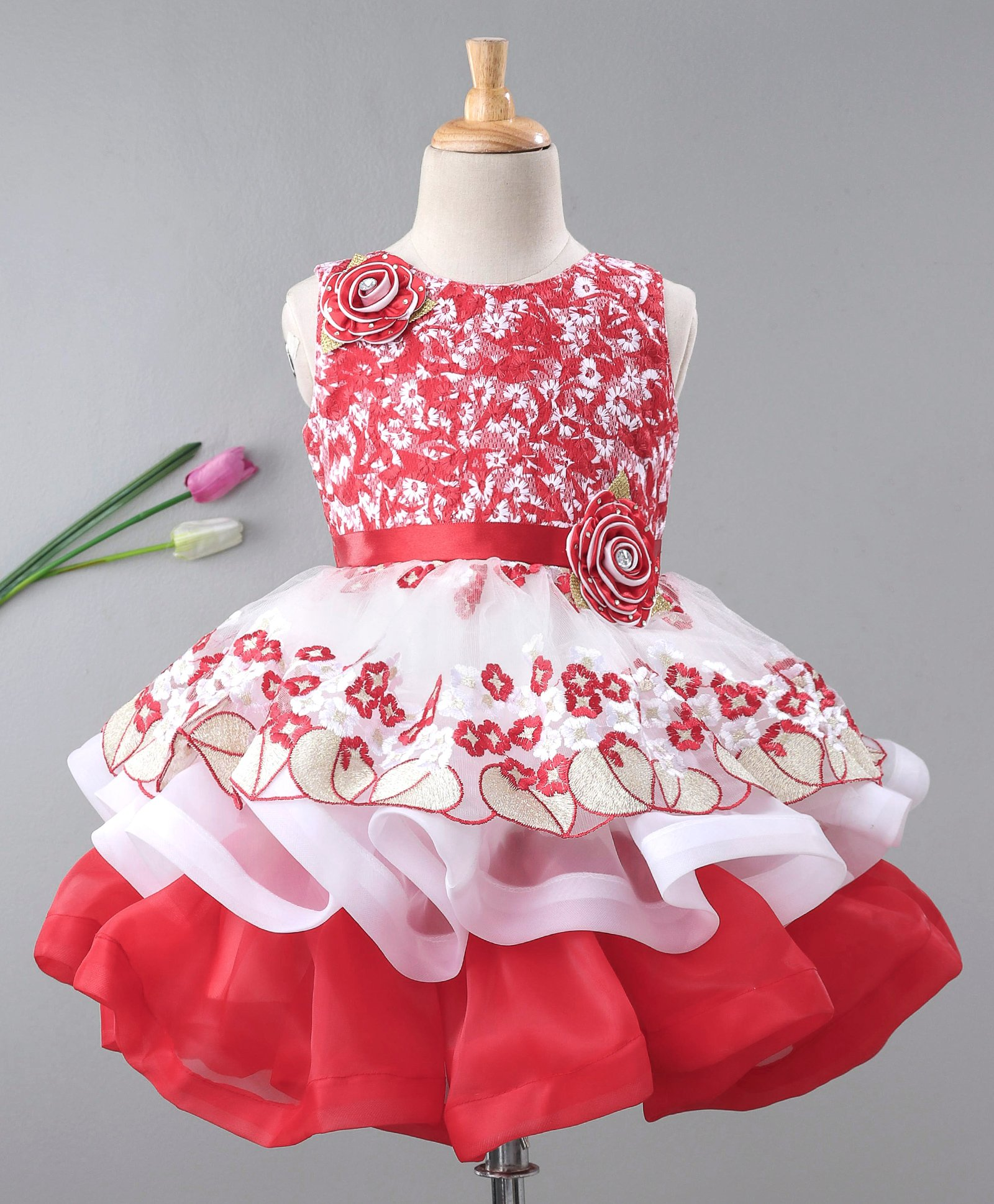 0a82e2dc748e0 Buy Enfance Flower Embroidered Sleeveless Flare Dress Red for Girls (2-3  Years) Online in India, Shop at FirstCry.com - 2484544