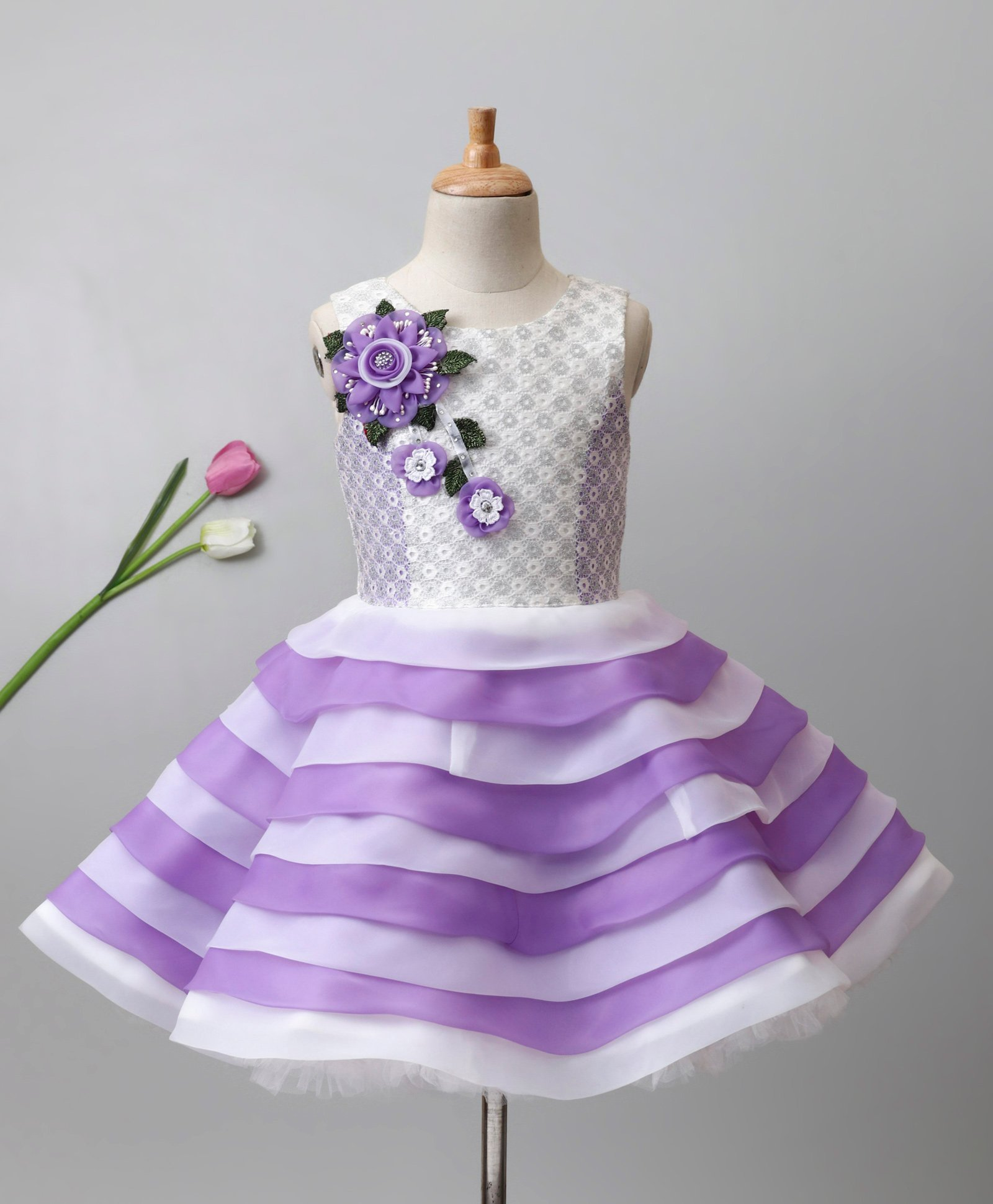 a2be9aca702 Enfance Sleeveless Flower Applique Dual Toned Layered Dress - Purple   White.  3 to 4 ...