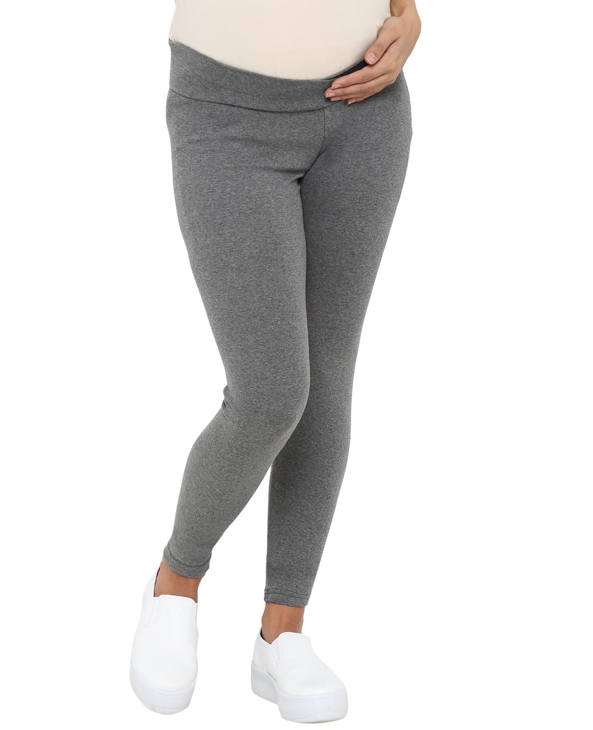 3ed86321d7891 Mamacouture Full Length Solid Maternity Leggings Grey Online in ...