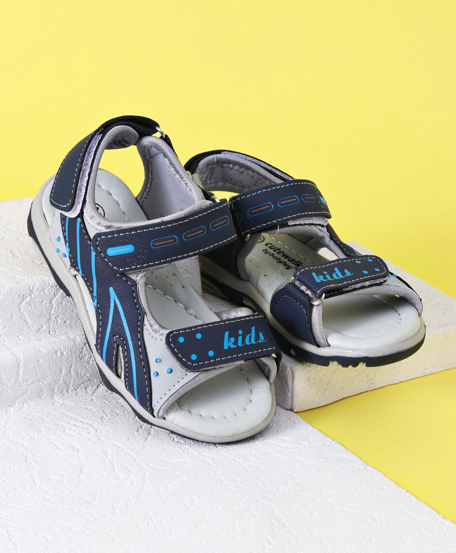 dab825cdd7309 Buy Cute Walk by Babyhug Sandals Grey Navy Blue for Boys (4-4 ...