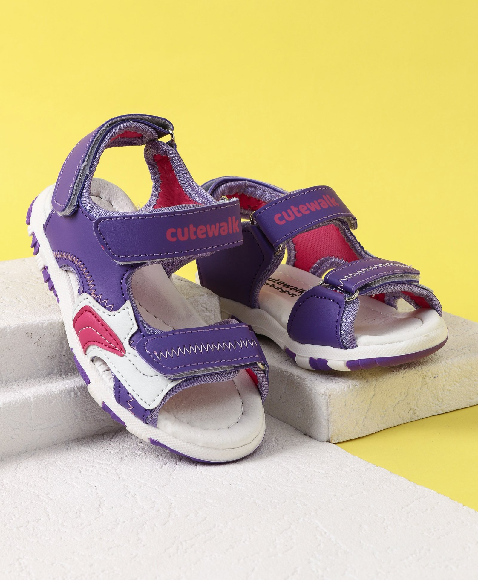 44a79bd8d2fb Buy Cute Walk by Babyhug Sandals With Velcro Closure Purple for ...