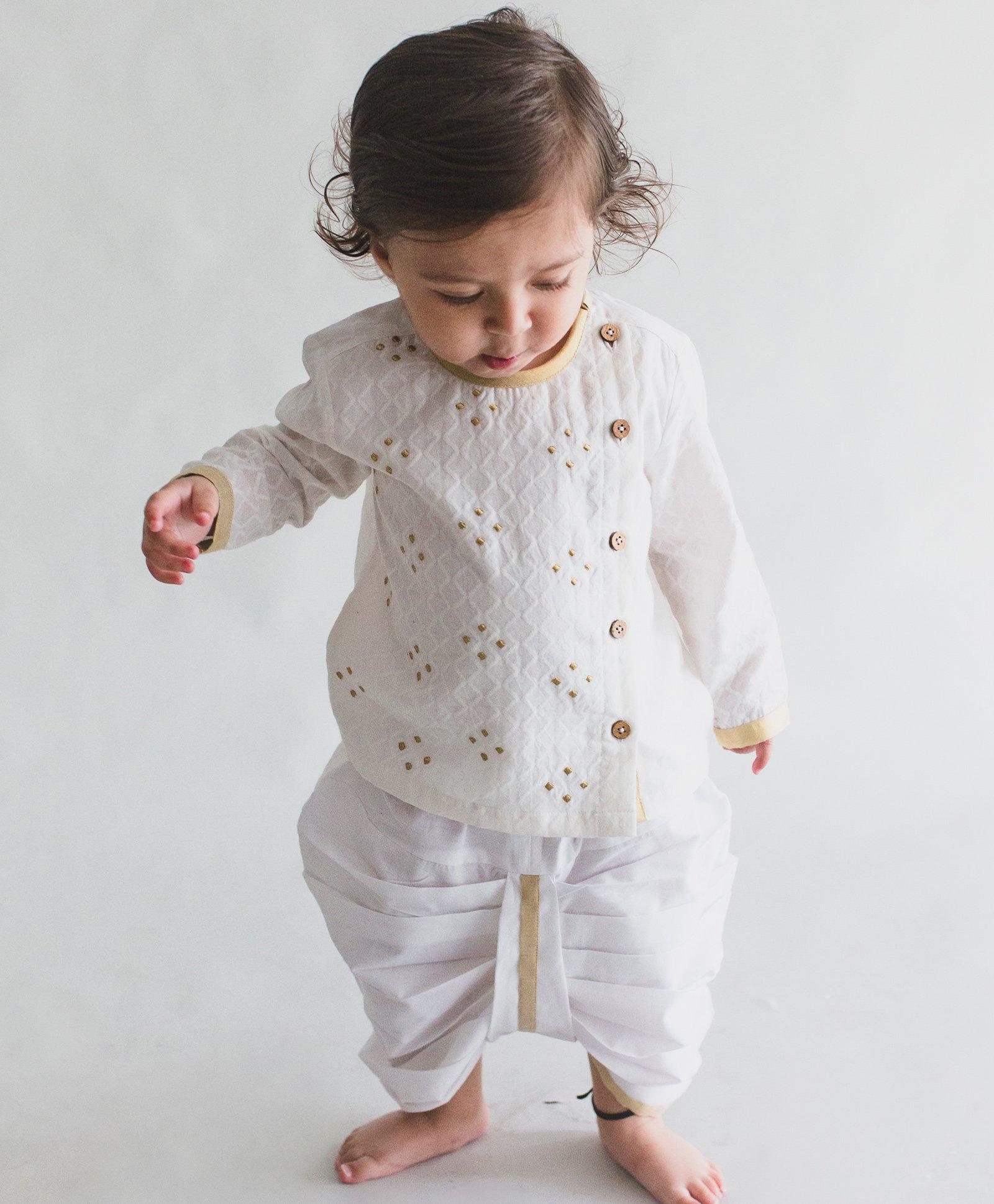 224ea6805de Buy Tiber Taber Angrakha Style Full Sleeves Kurta   Dhoti Set White ...