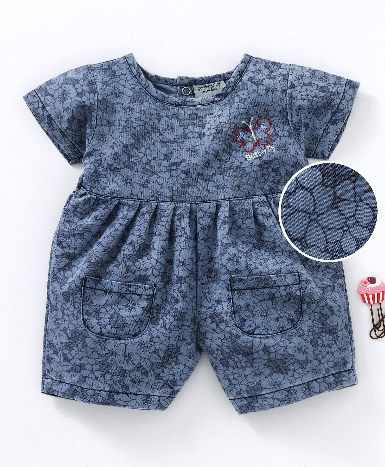 10b66f50321a6 Buy Wonderchild Flower Print Short Sleeves Jumpsuit Blue for Girls (3 ...
