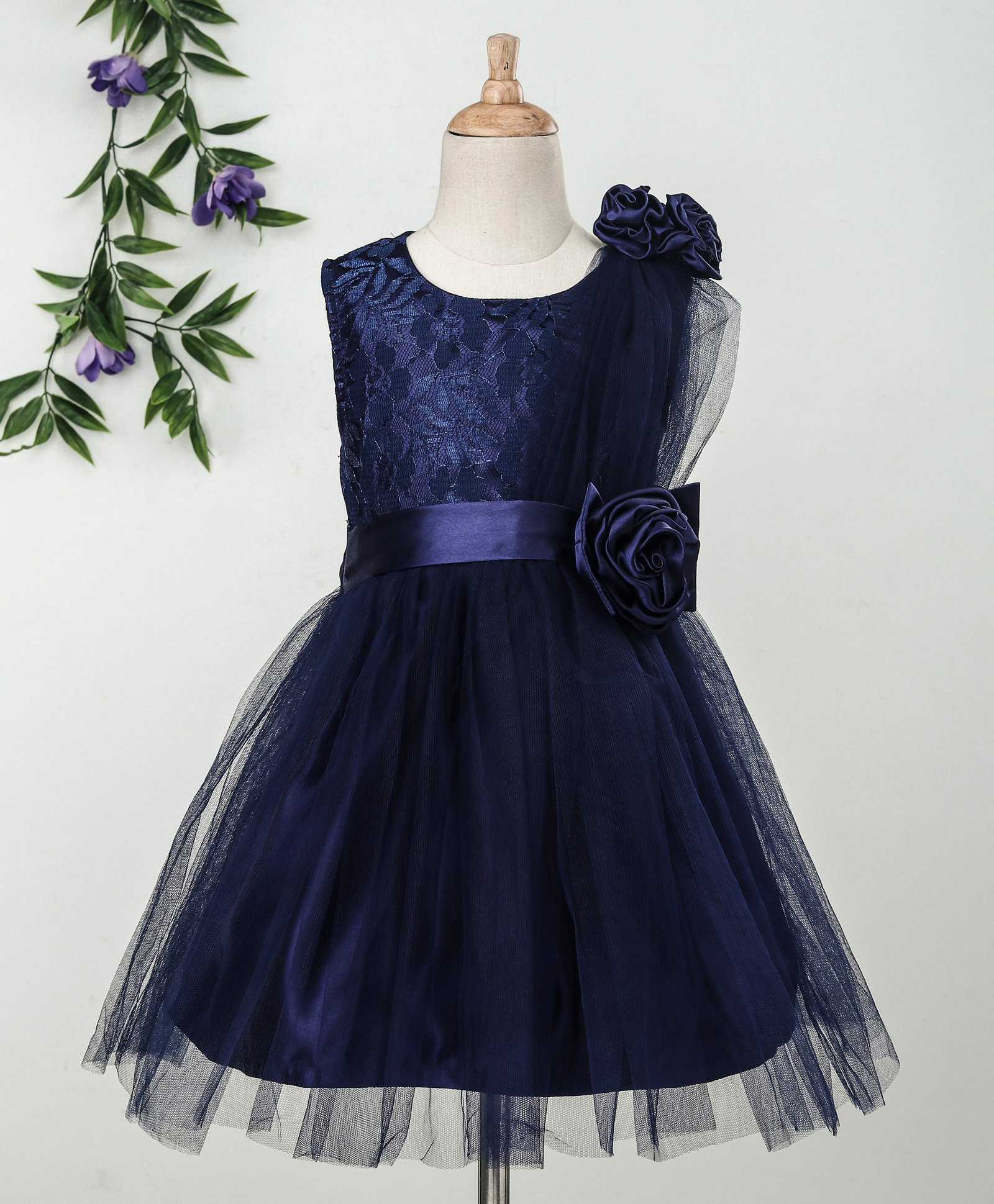 ee8e73bc43 Buy Babyhug Sleeveless Party Frock 3D Satin Flowers Navy Blue for Girls  (3-4 Years) Online in India, Shop at FirstCry.com - 2502660