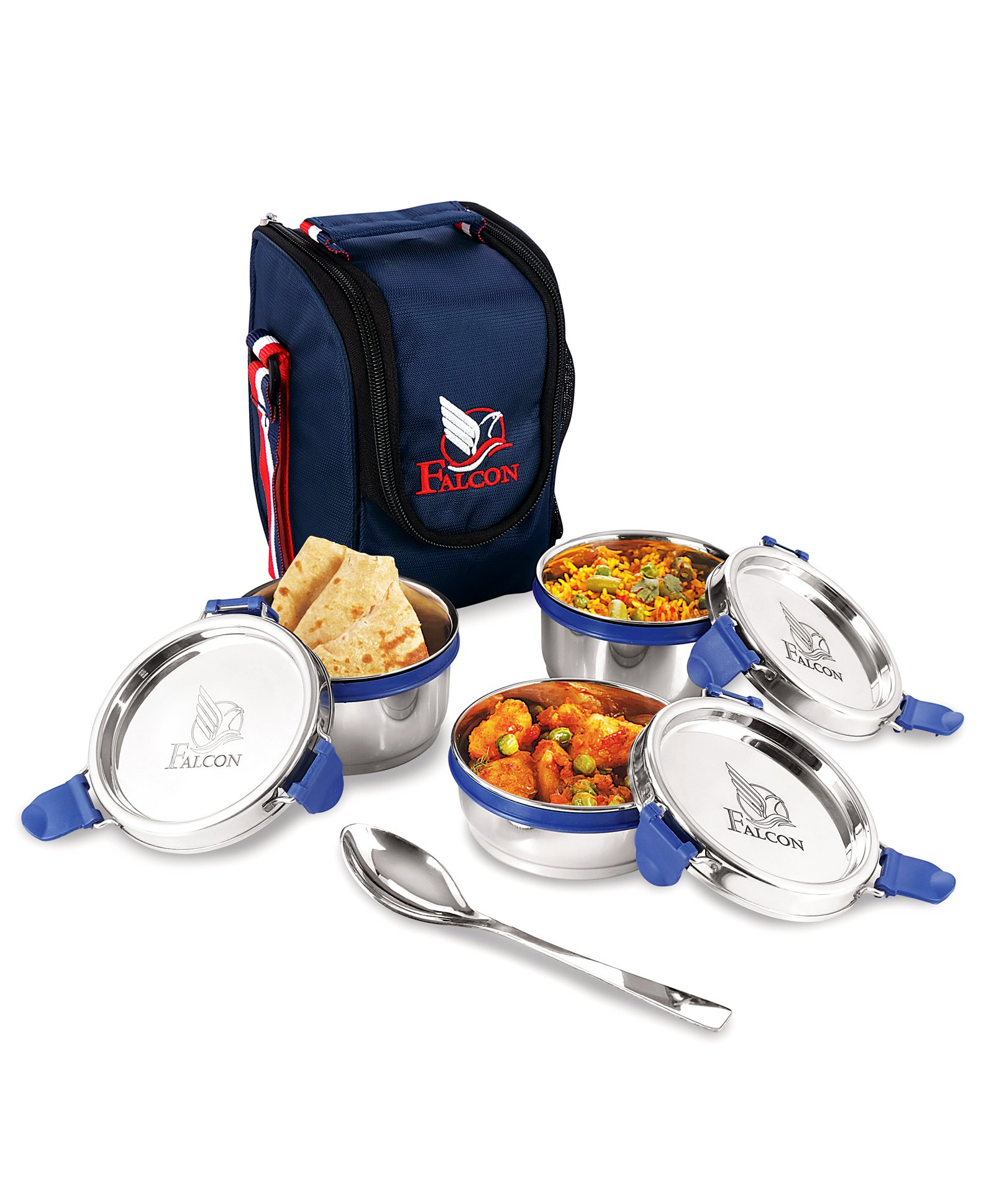 Falcon Eco Nxt Stainless Steel Lunch Box Set of 5 Navy Online in India, Buy  at Best Price from Firstcry com - 2505074