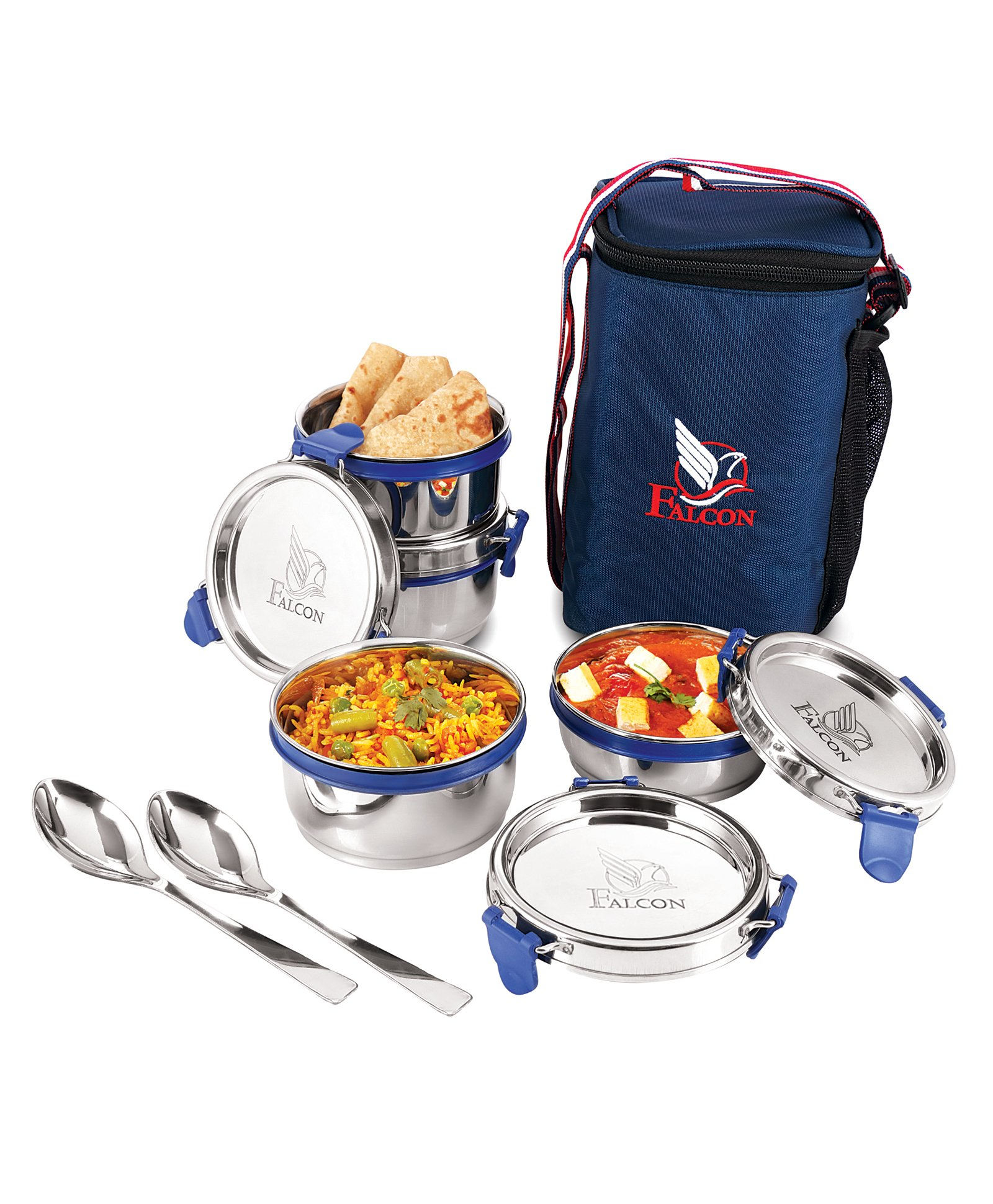 Falcon Eco Nxt Stainless Steel Lunch Box Set of 7 Navy Online in India, Buy  at Best Price from Firstcry com - 2505075